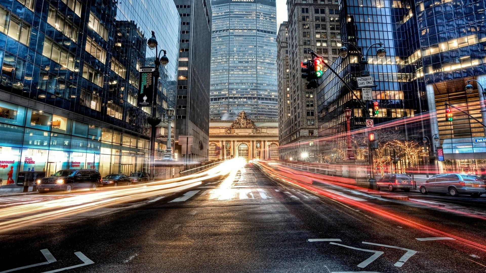 Wallpaper Manhattan New York City USA Road Car Skyscrapers