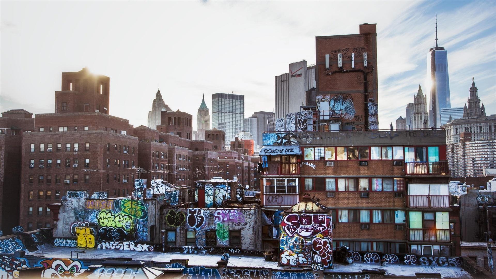 New York Usa Stadt Wolkenkratzer Graffiti Häuser