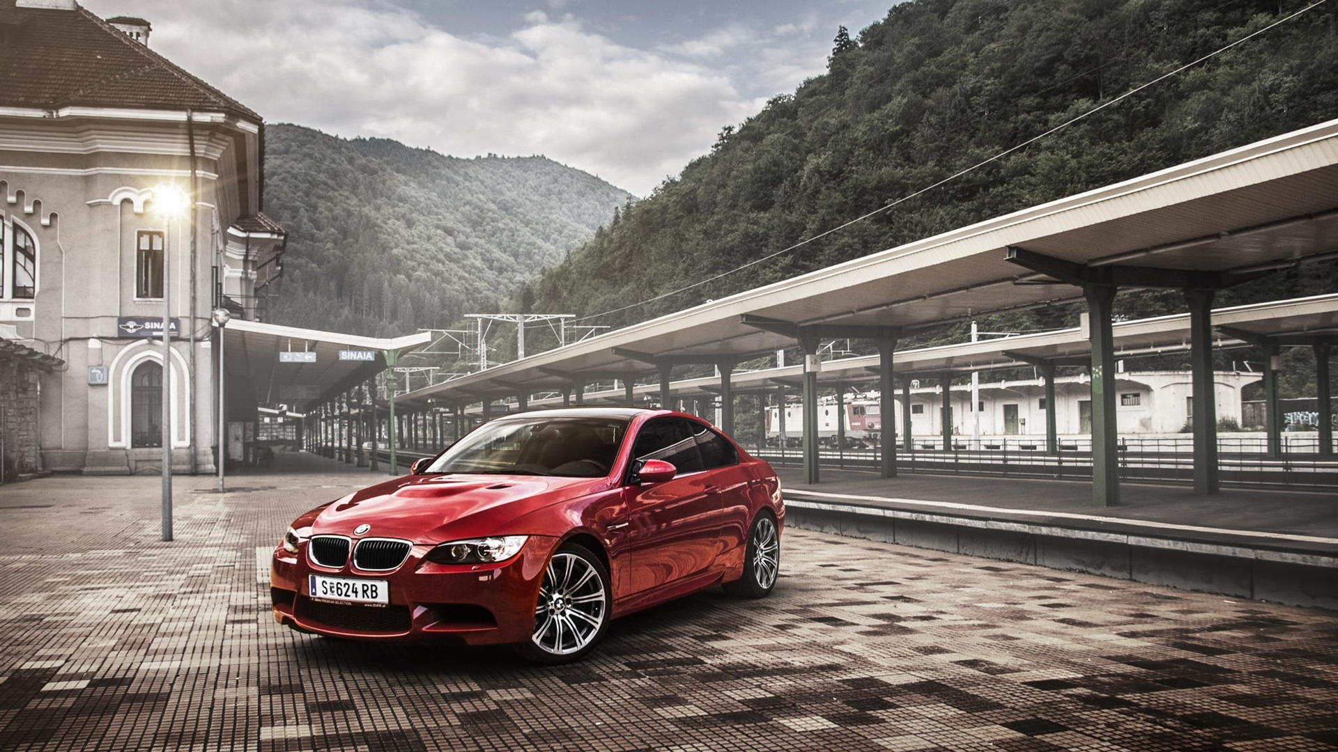 Wallpaper Bmw M3 E92 Coupe Red Car Rail Station 1920x1080 Full Hd 2k Picture Image