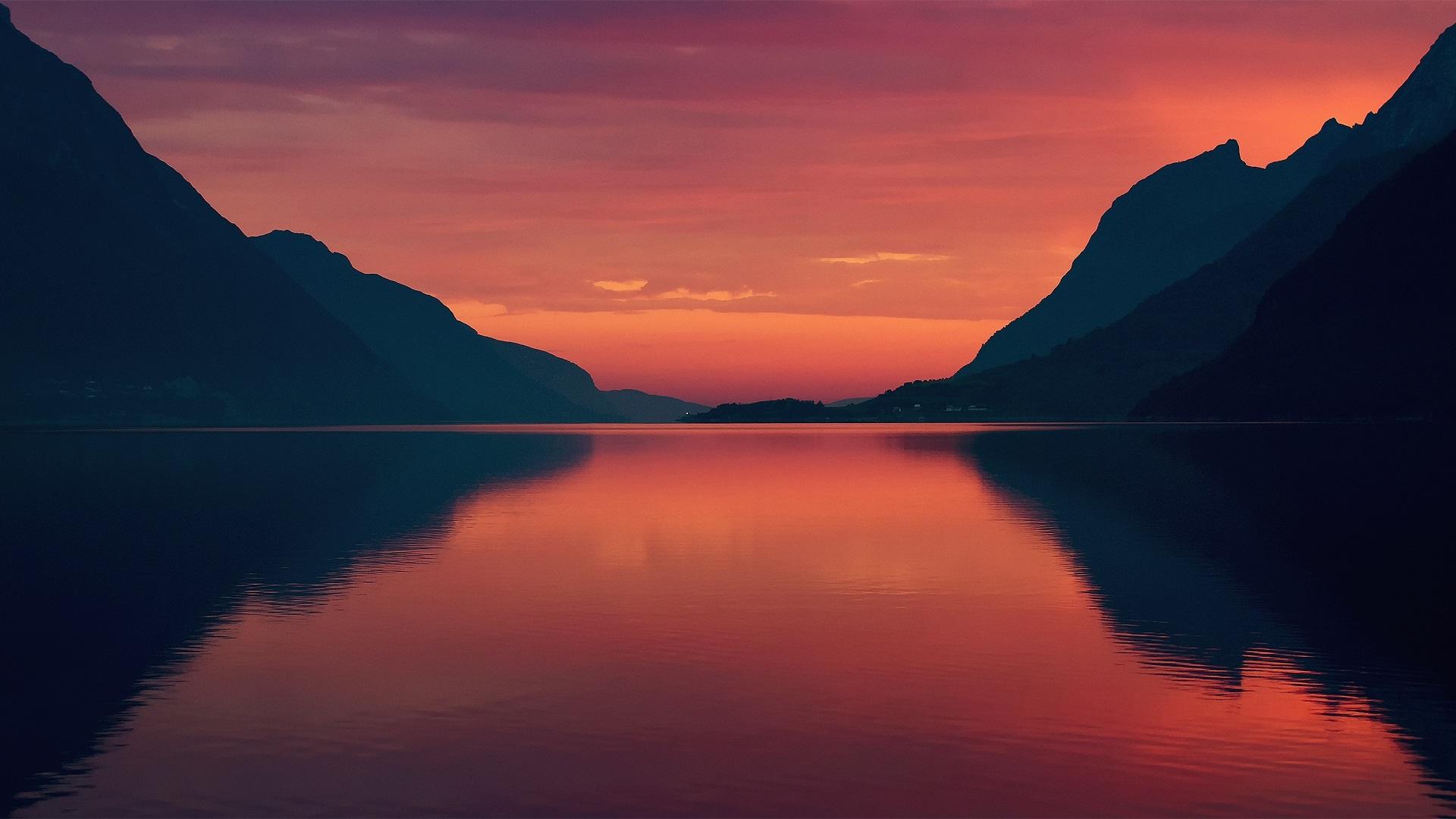 Wallpaper download morning - Norway Fjord Summer Morning Dawn Red Sky Wallpaper
