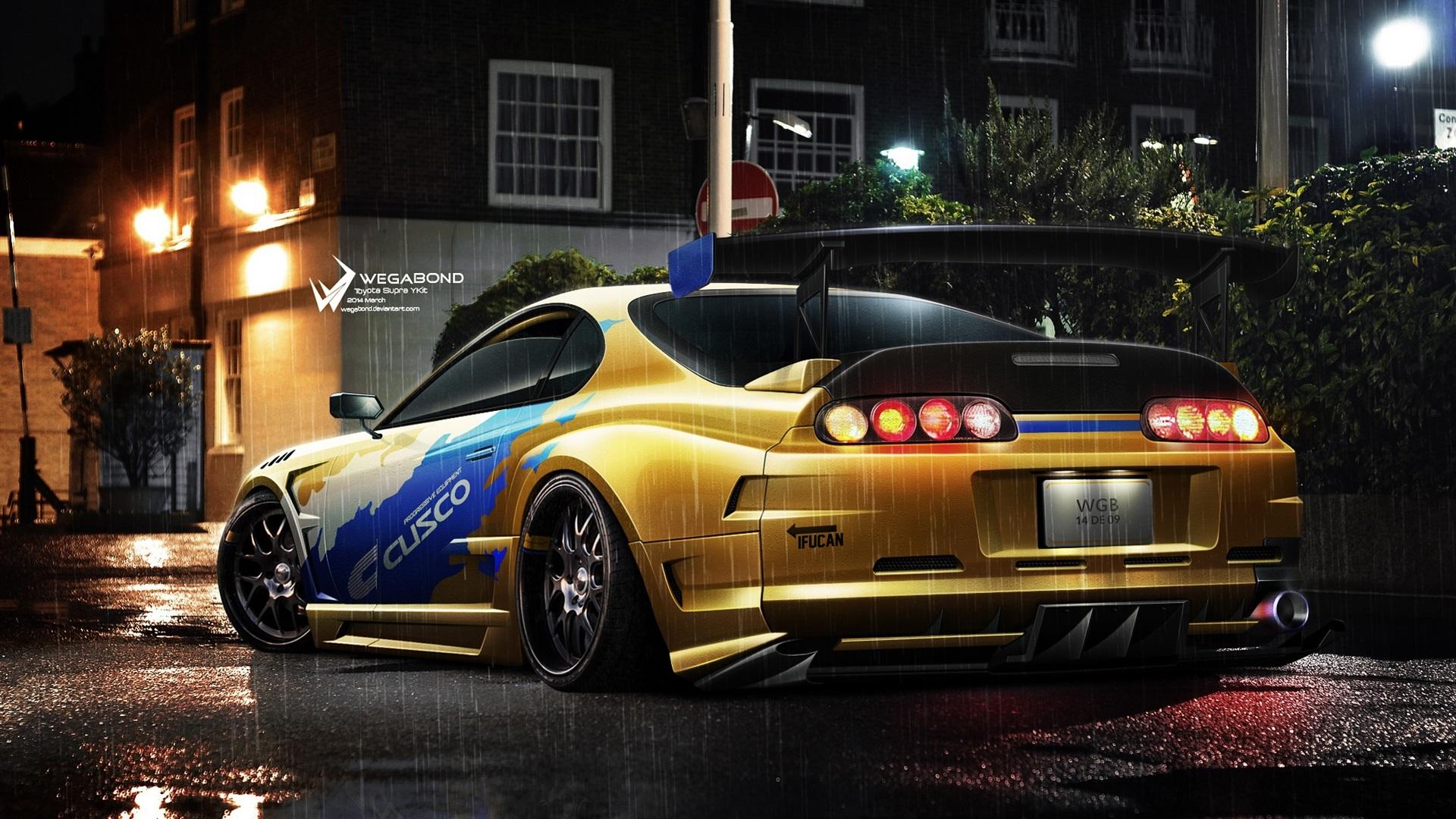 Toyota Coche De Carreras Amarillo Luces Noche Lluvia
