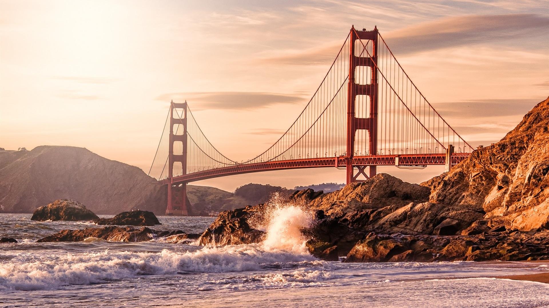 Wallpaper Usa San Francisco Golden Gate Bridge Rocks Waves Beach 1920x1200 Hd Picture Image
