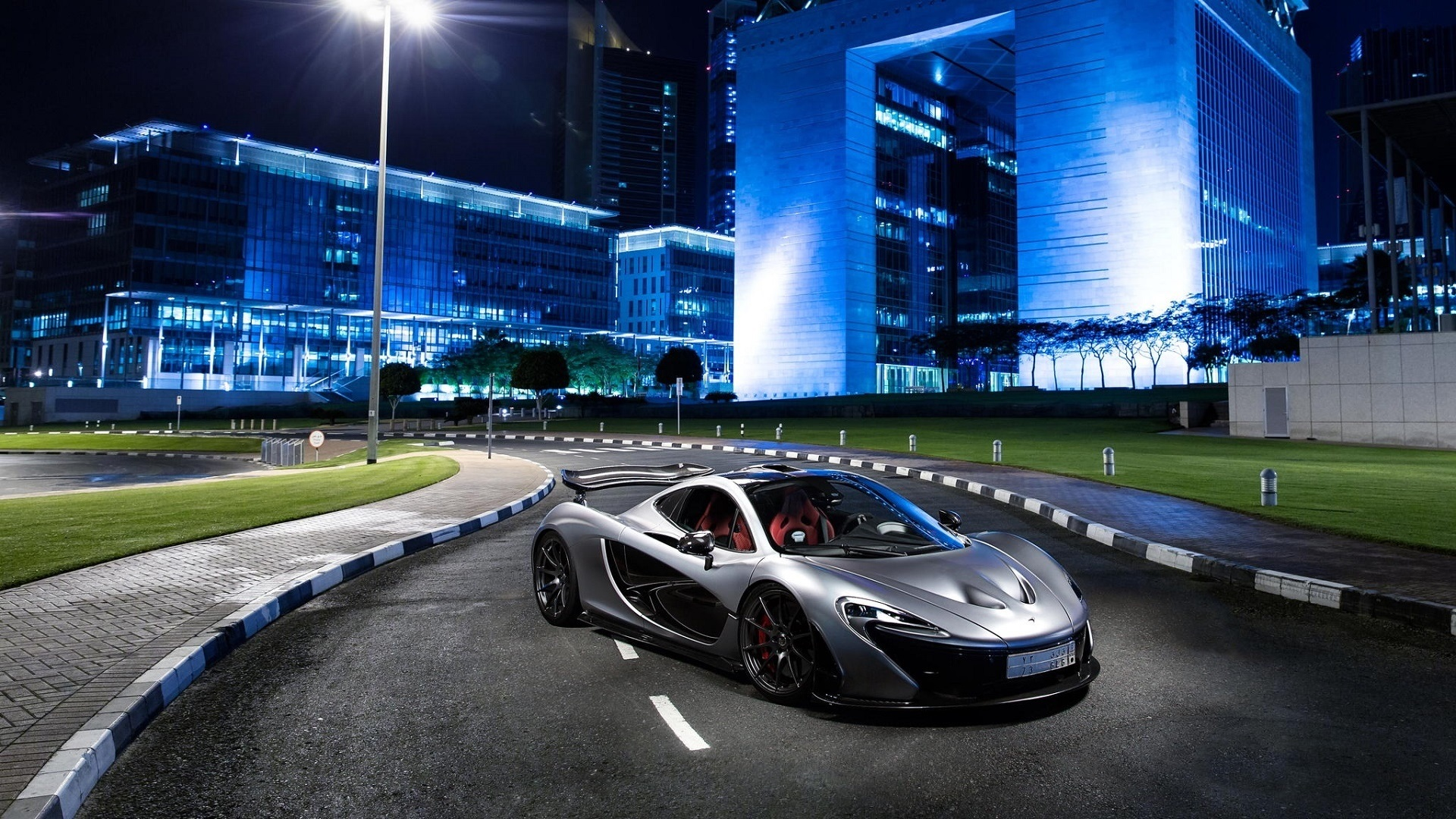 Wallpaper Mclaren P1 Silver Supercar At City Night 1920x1080 Full Hd 2k Picture Image