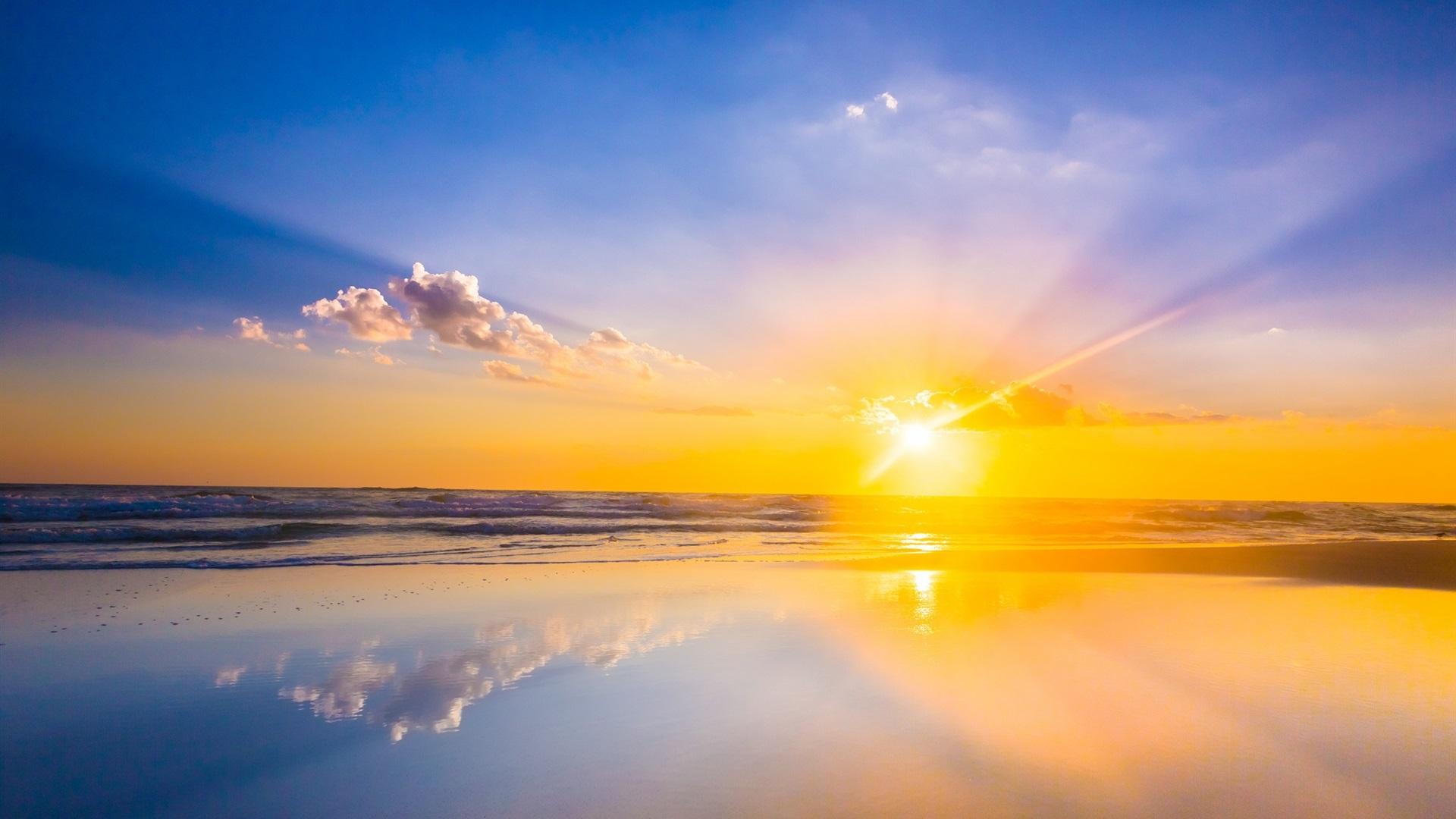1080 x 1920 alucard wallpaper: 壁紙 日の出、海、ビーチ、雲、空 1920x1200 HD 無料のデスクトップの背景, 画像