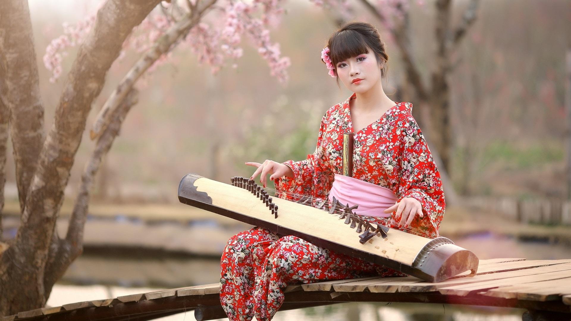 Wallpaper Japan Girl Kimono Music 2560x1600 Hd Picture Image