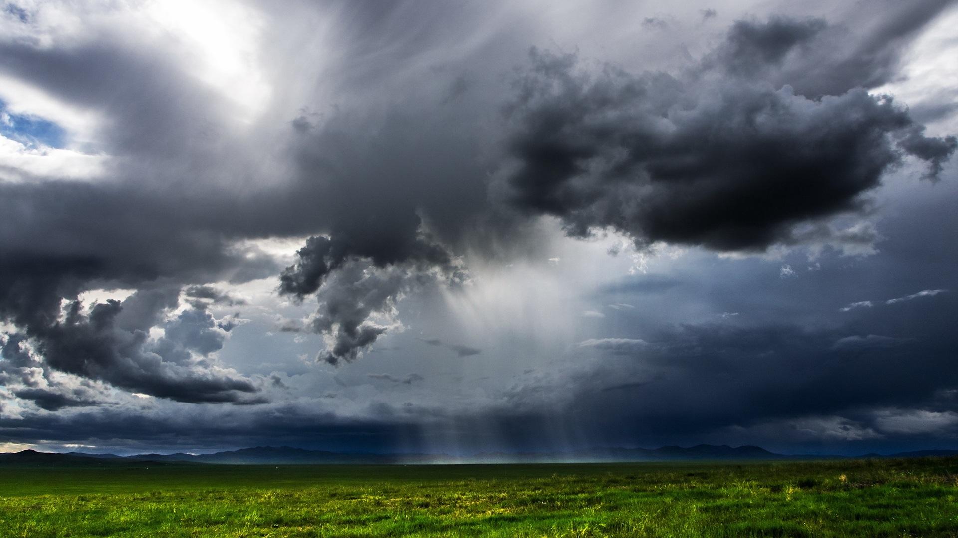 Hd wallpaper rain - Mongolia Campos Verdes Oscuras Nubes Lluvia Fondos De