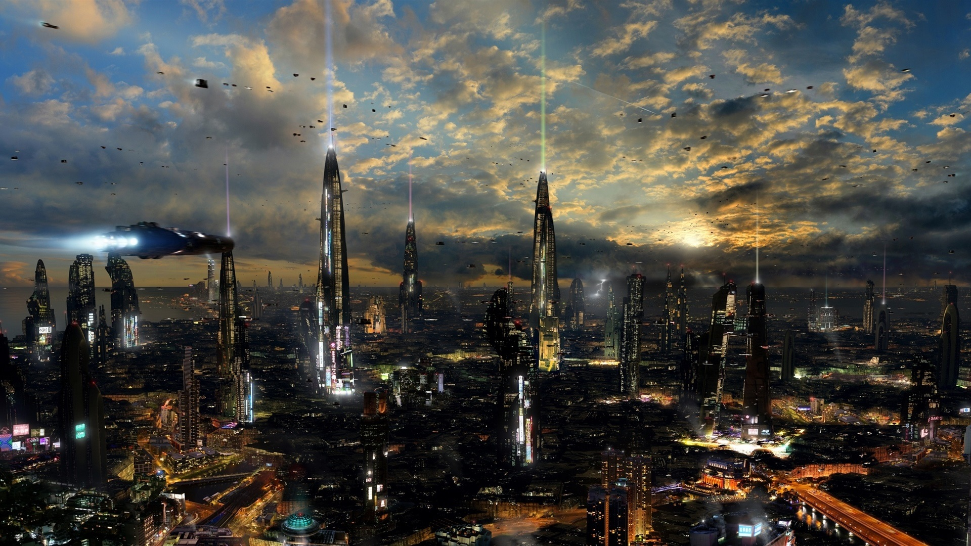 Wallpaper Futuristic City Night Lights 1920x1080 Full HD 2K