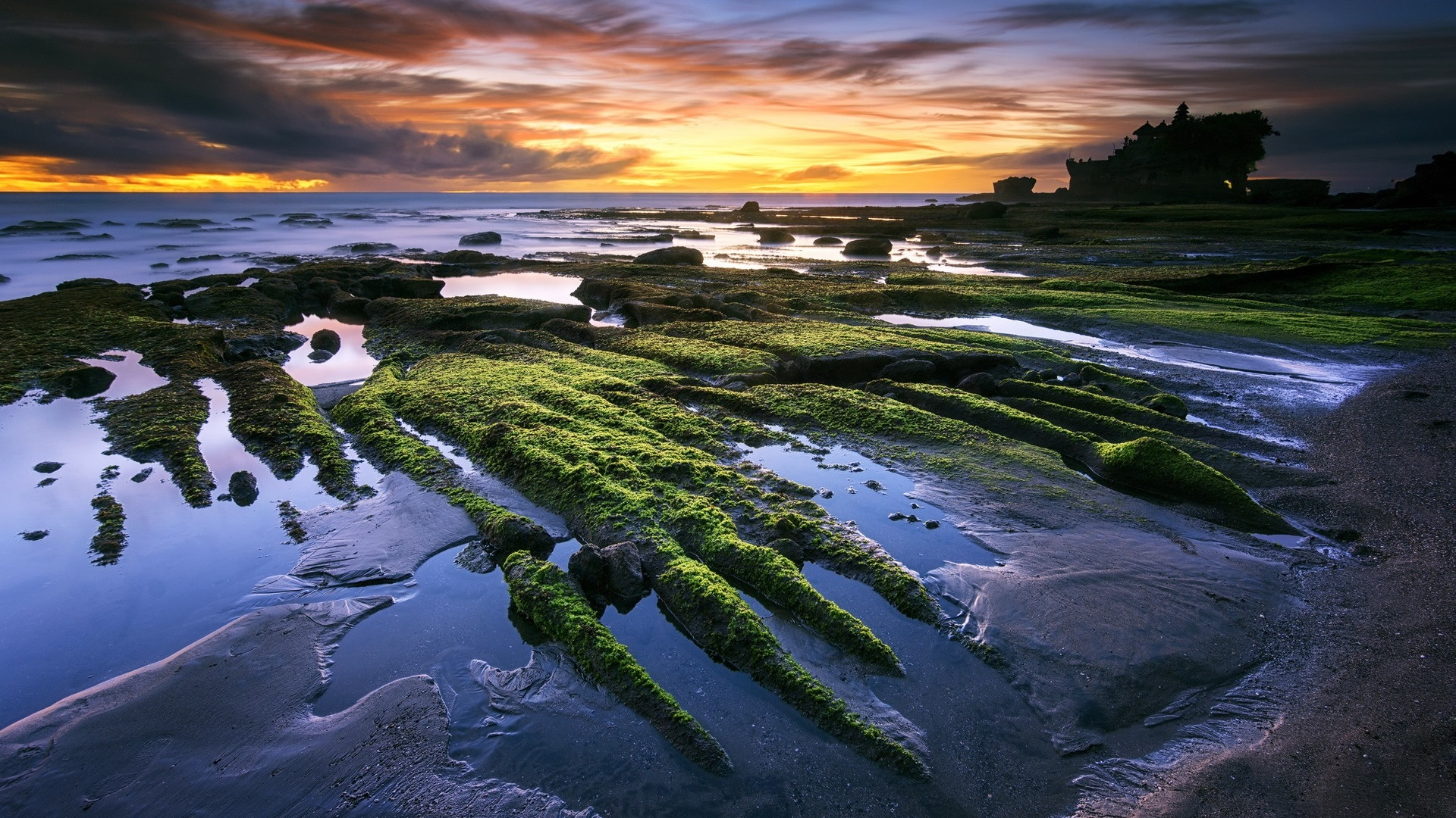 Download Wallpaper 1920x1080 Tanah Lot, Bali, Indonesia