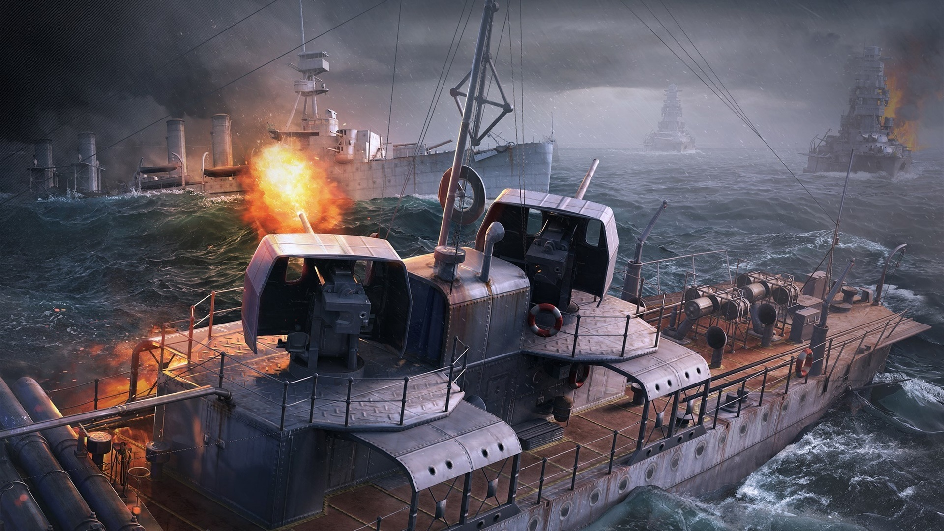 Wallpaper World Of Warships Pc Game Sea Ships 1920x1080 Full Hd