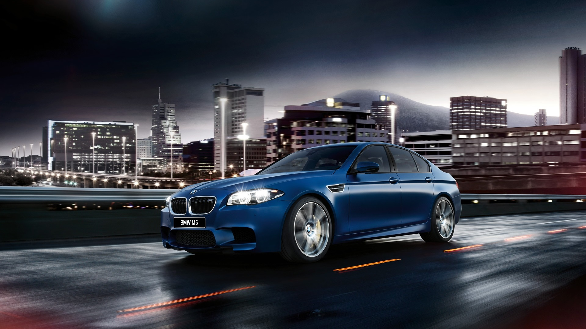 Wallpaper 2015 Bmw M5 F10 Blue Car Side View 1920x1200 Hd Picture Image