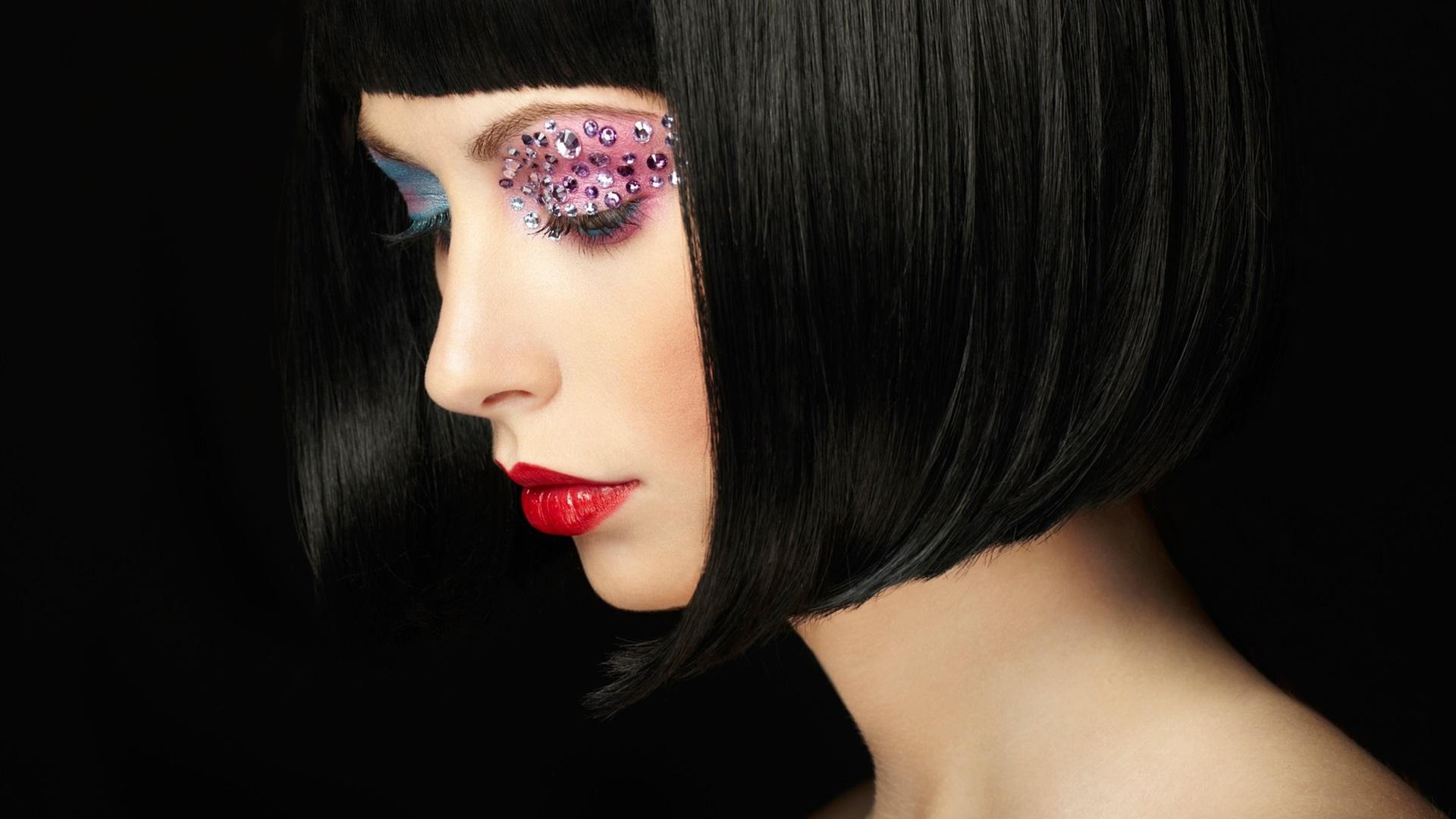 壁紙 ファッションの女の子 メイク リップ 短い髪 19x10 Hd 無料のデスクトップの背景 画像