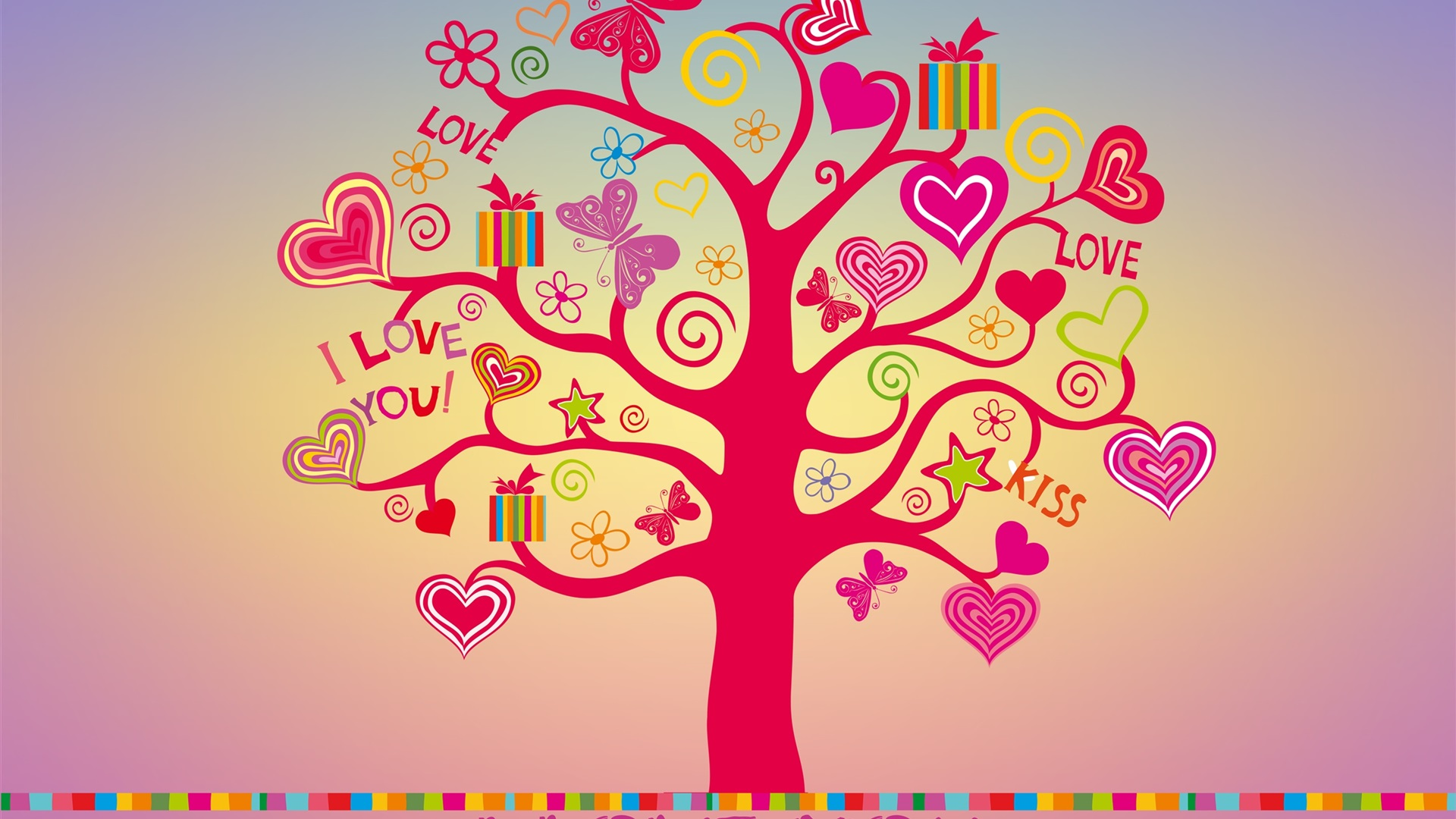 Love Tree Wallpapers : Download Wallpaper 1920x1080 I love you, love tree, hearts Full HD Background
