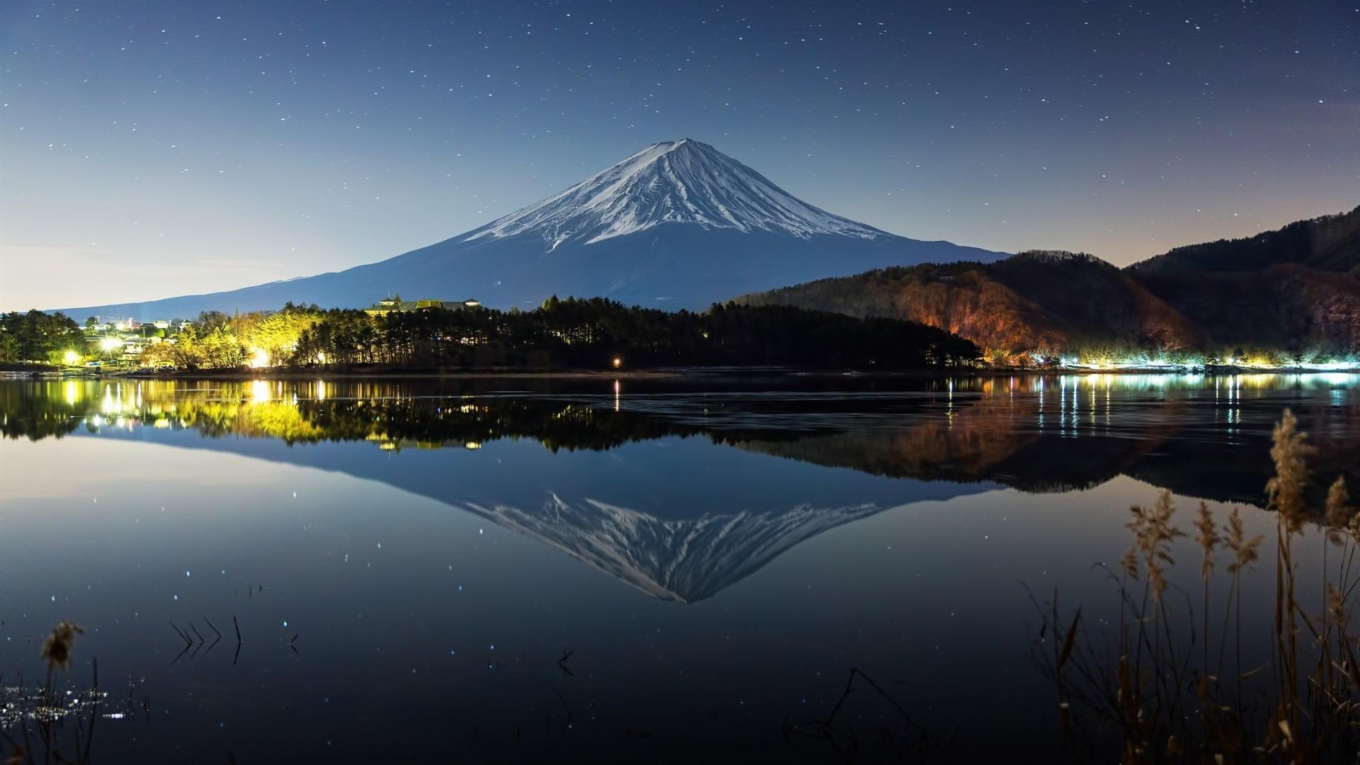 ... 富士山、夜、冬、湖、ライト 壁紙 - 1920x1080 フルHD Hd Wallpaper 1920x1080