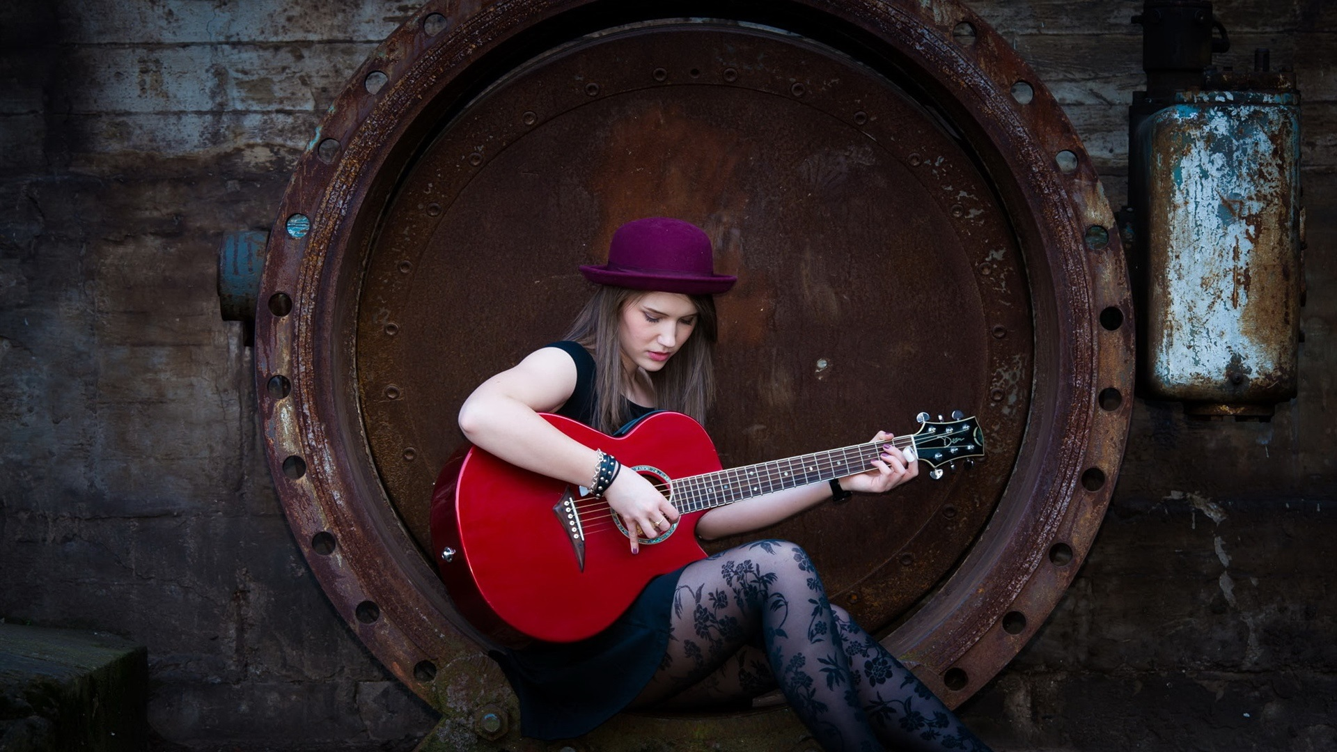 wallpaper long hair girl hat guitar music 1920x1080 full hd 2k