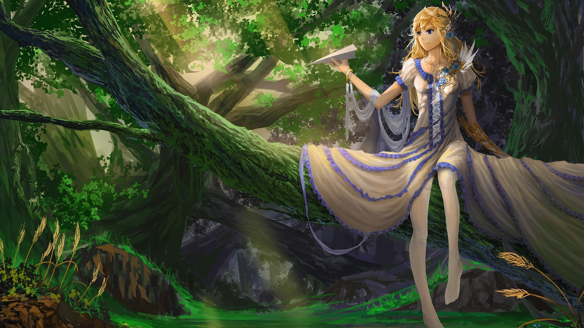 Most Inspiring Wallpaper Forest Girl - Beautiful-fantasy-girl-paper-airplane-tree-forest_1920x1080  Image_557511 .jpg