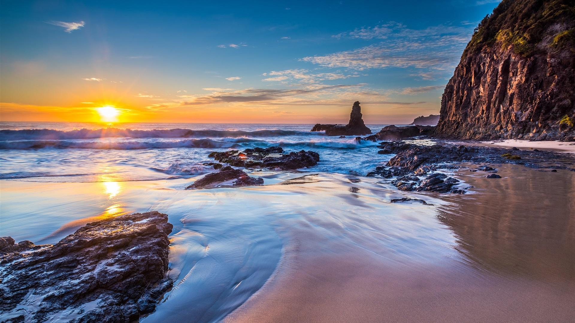 10 New Hawaii Beach Pictures Wallpapers Full Hd 1920 1080: 壁紙 ジョーンズビーチ、キアマダウンズ、ニューサウスウェールズ、オーストラリア、海、日の出 2560x1600 HD
