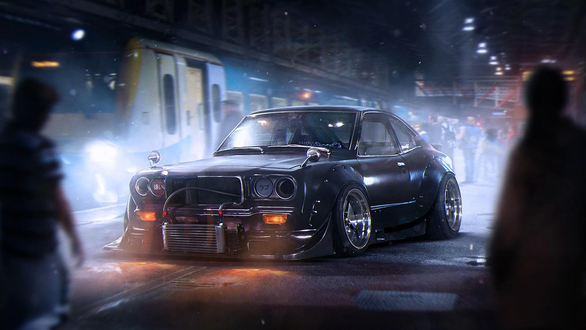 Wallpaper Mazda Rx 3 Black Car Night City 1920x1080 Full Hd 2k