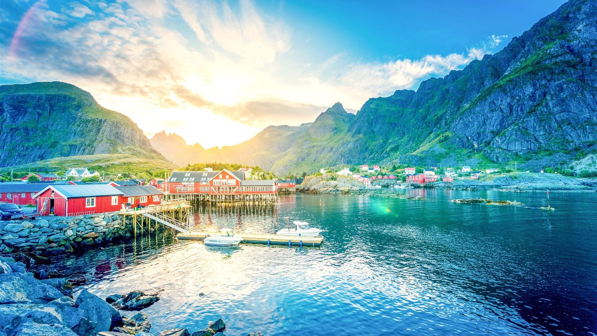 Wallpaper Norway Lofoten Lake Mountains Gorge Sunrise Town Houses Pier Boat 2560x1600 Hd Picture Image