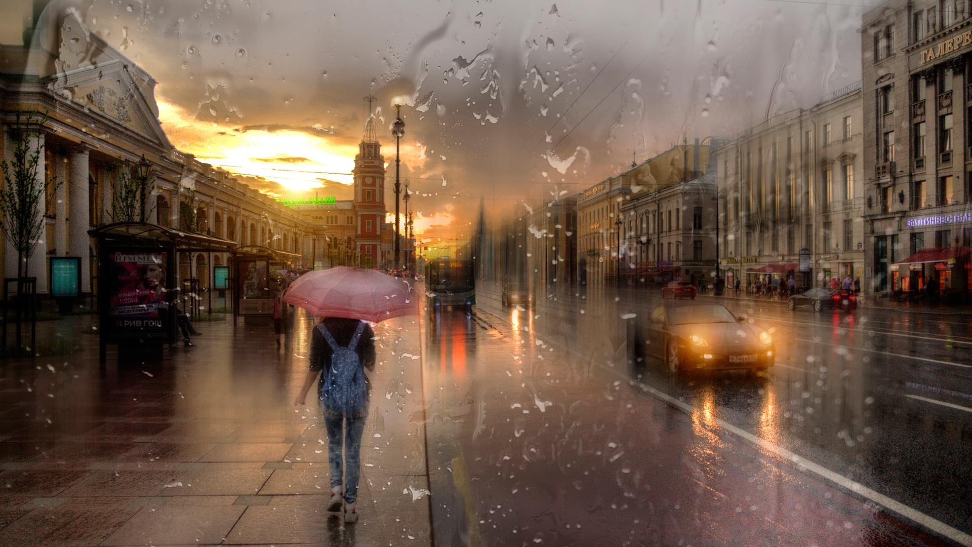 дождь питер обои для рабочего стола № 452356 без смс