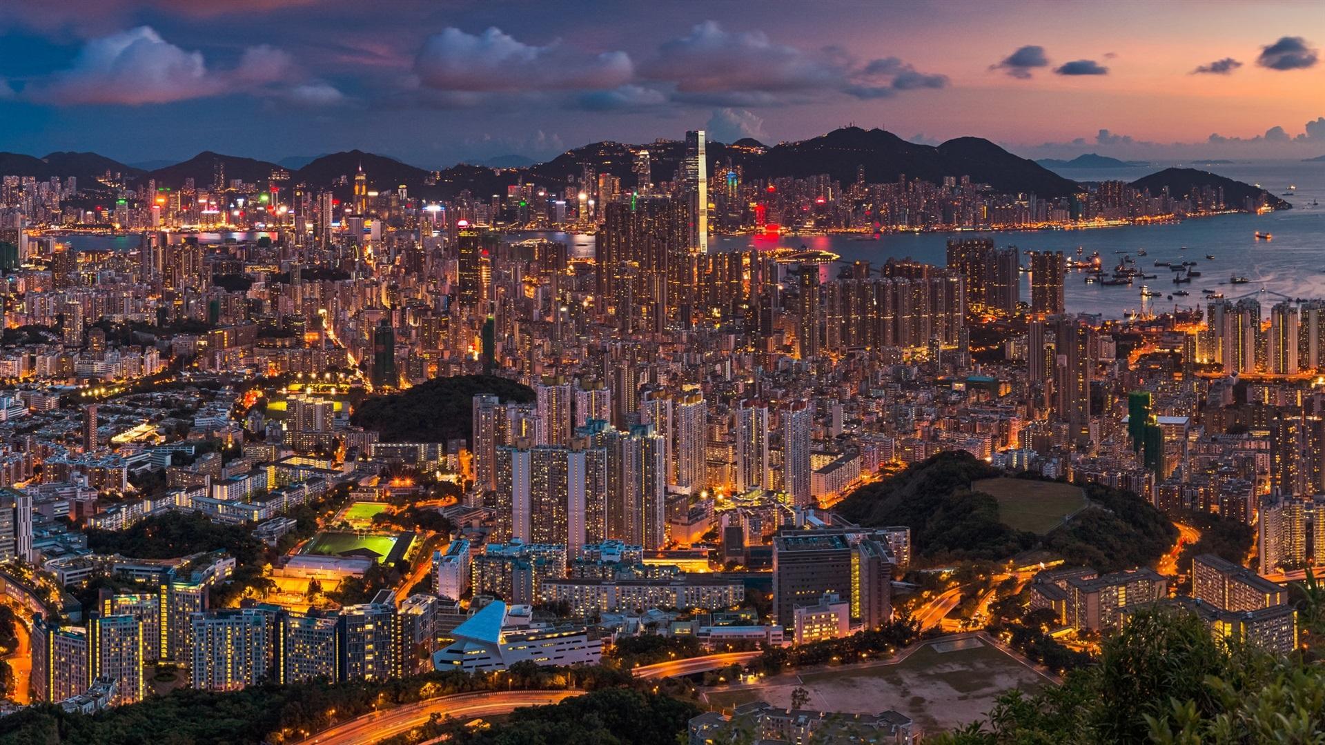 Wallpaper Beautiful City Night, Hong Kong, China