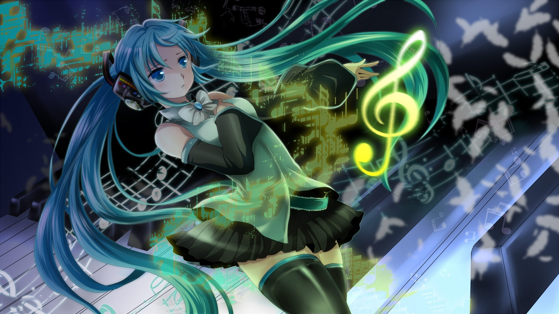 Hatsune Miku Blue Hair Girl Headphones Music Anime