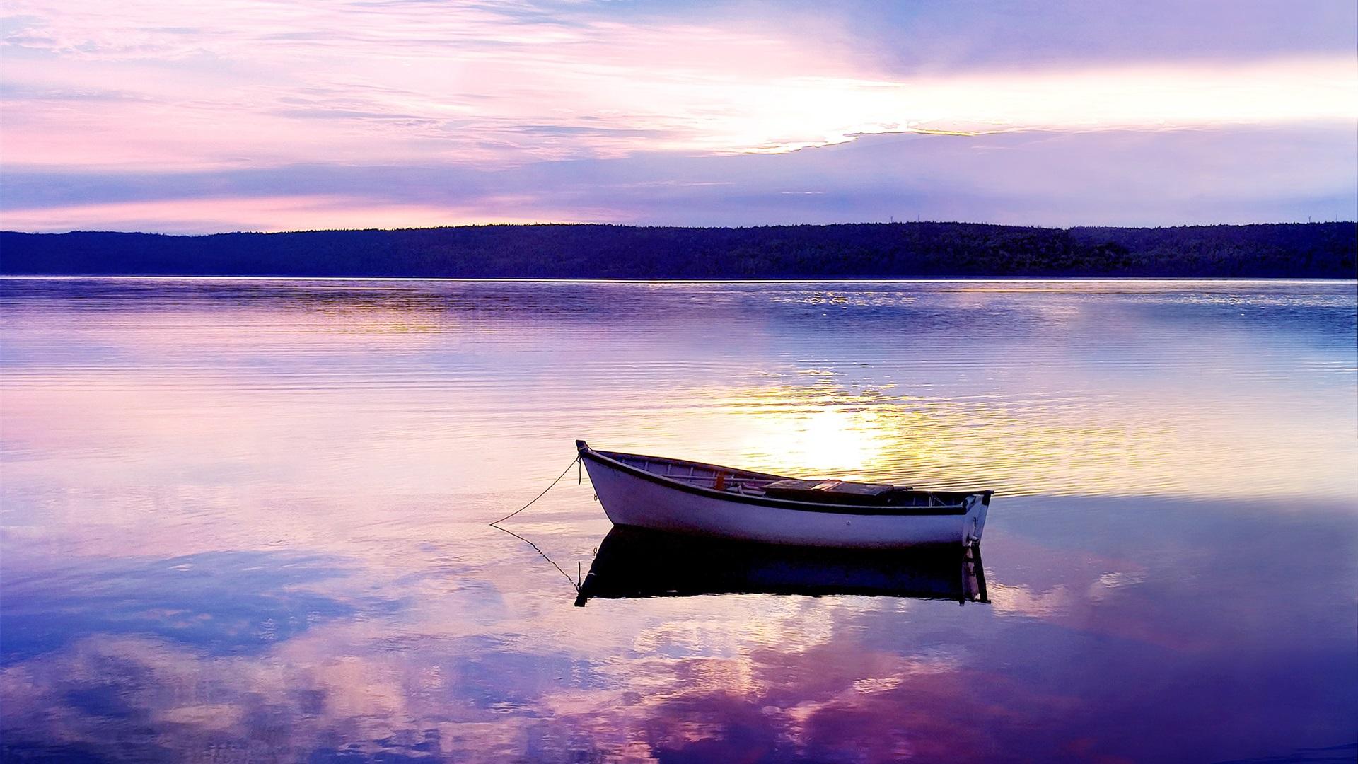 Lac, coucher de soleil, bateau, soir Fonds d'écran - 1920x1080 Full ... Boat