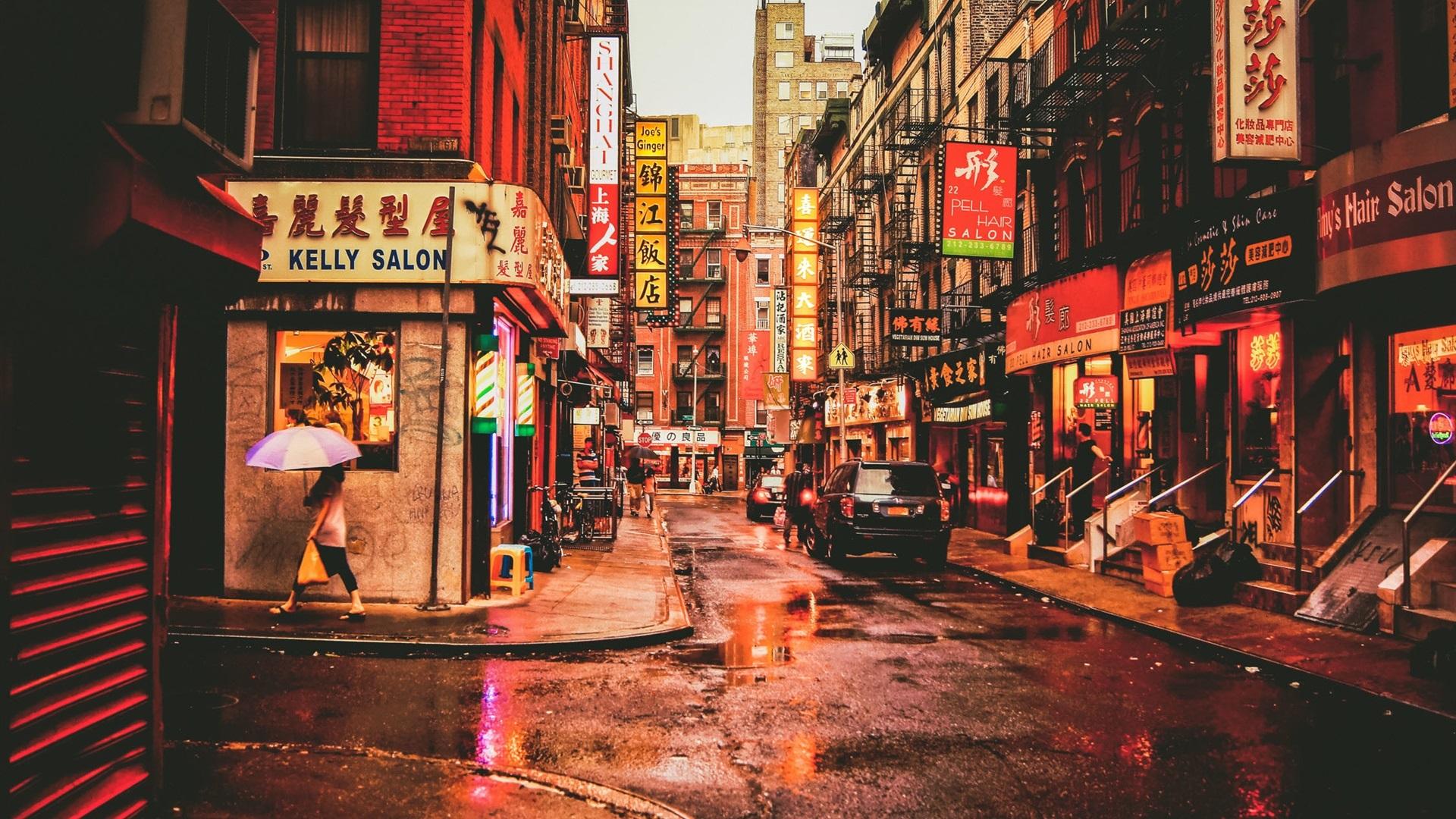 Wallpaper New York Chinatown USA Street Restaurants Cars