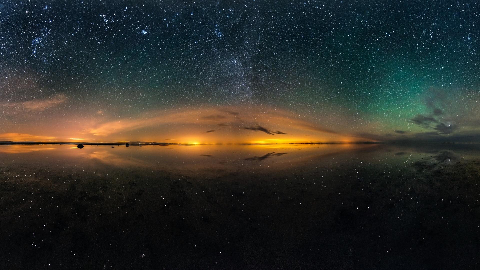 Wallpaper Salt Lake Beautiful Night Sky Stars Water Reflection