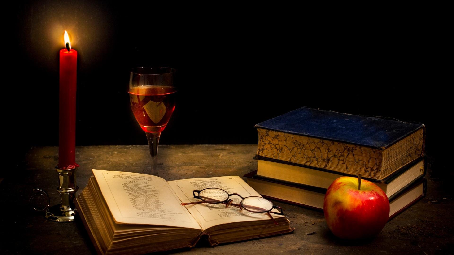 wallpaper tranquillity dark, candle, books, glass, apple 1920x1200