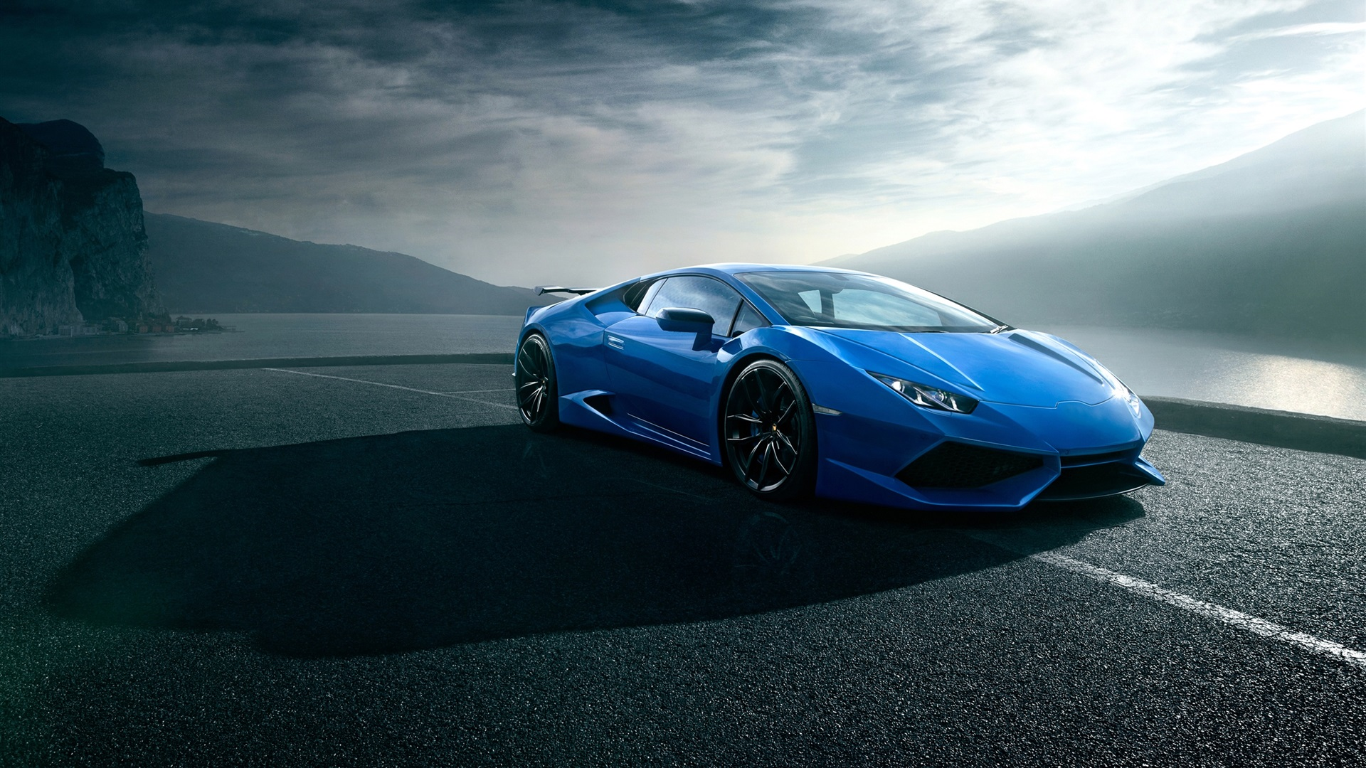 Download Wallpaper 1920x1080 Lamborghini Huracan Blue Luxury Supercar Road Clouds Full Hd