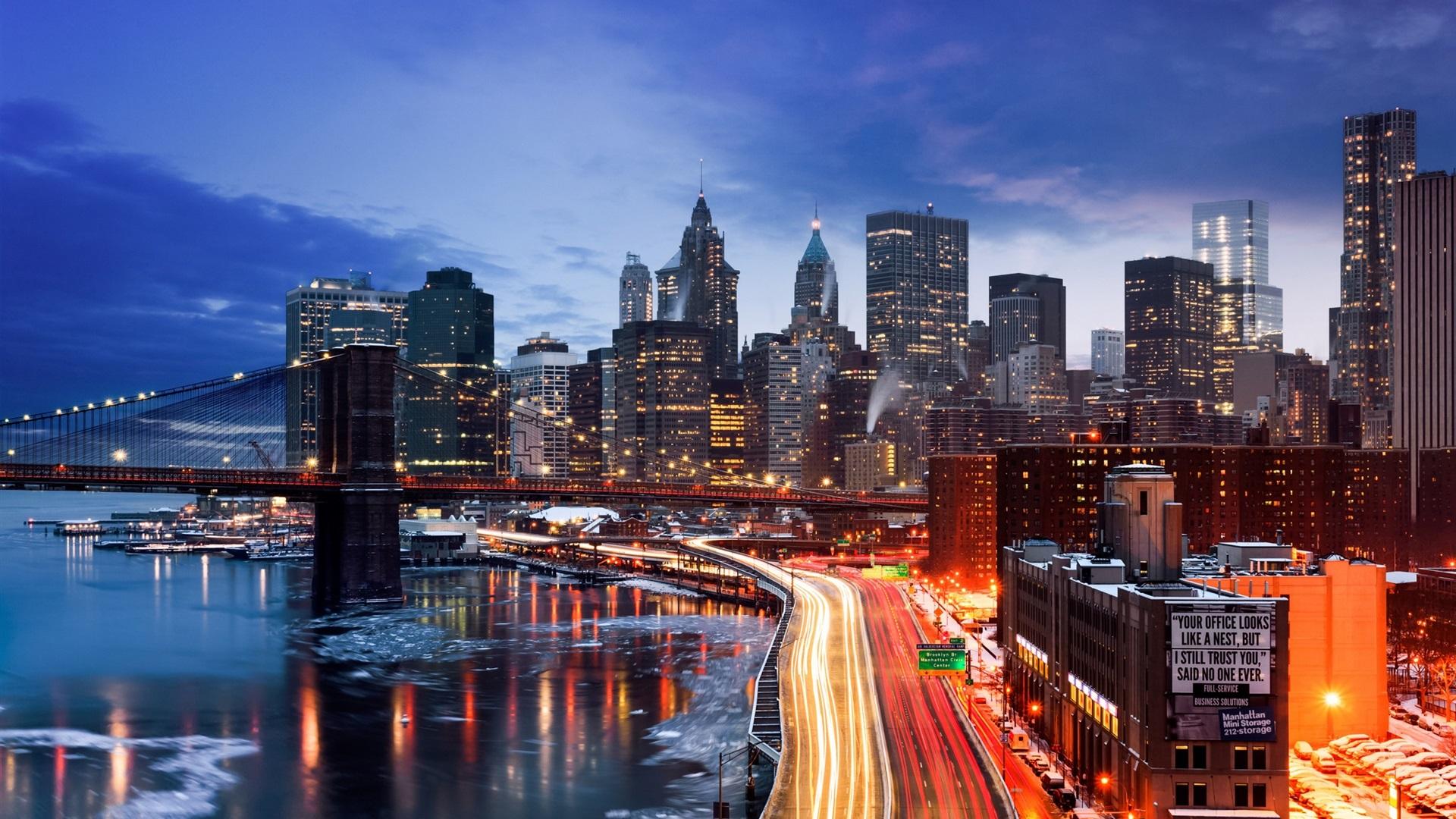 Fonds d 39 cran new york manhattan tats unis l 39 hiver le soir les routes les ponts les - Wallpaper 1080p new york ...