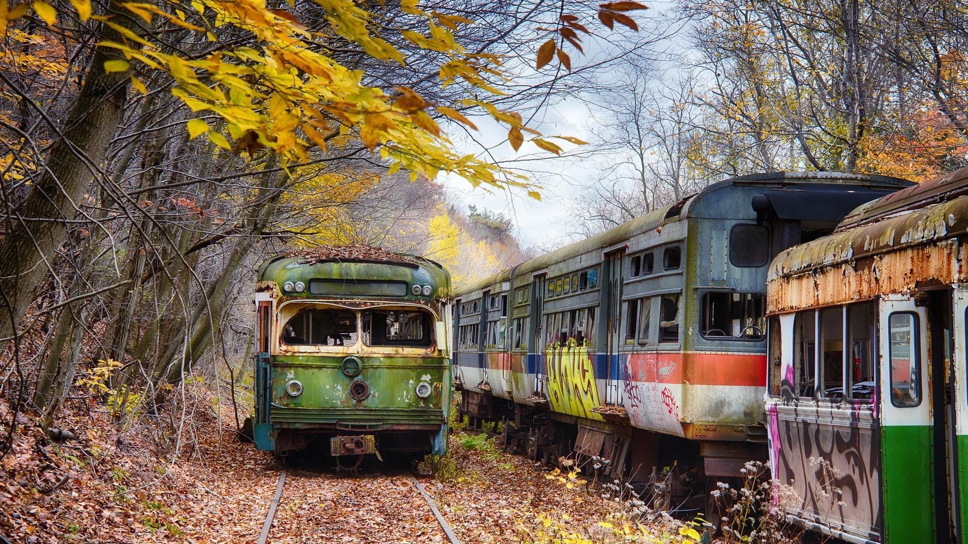 壁紙 放棄された鉄道駅 ペンシルベニア州 木 秋 19x1080 Full Hd 2k 無料のデスクトップの背景 画像