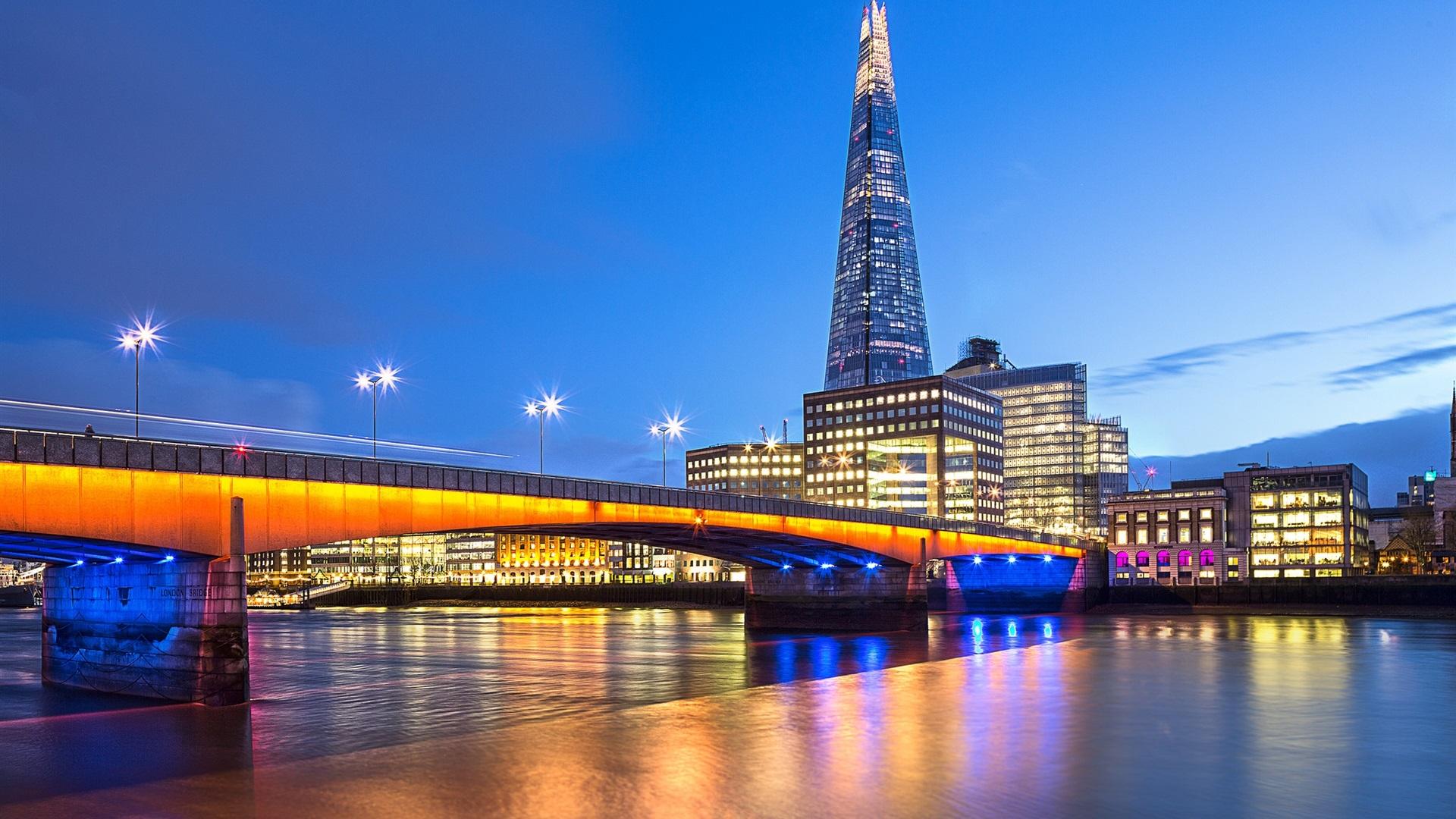 배경 화면 런던, 영국, 다리, 템스 강, 저녁, 조명, 건물 1920x1200 HD 그림, 이미지