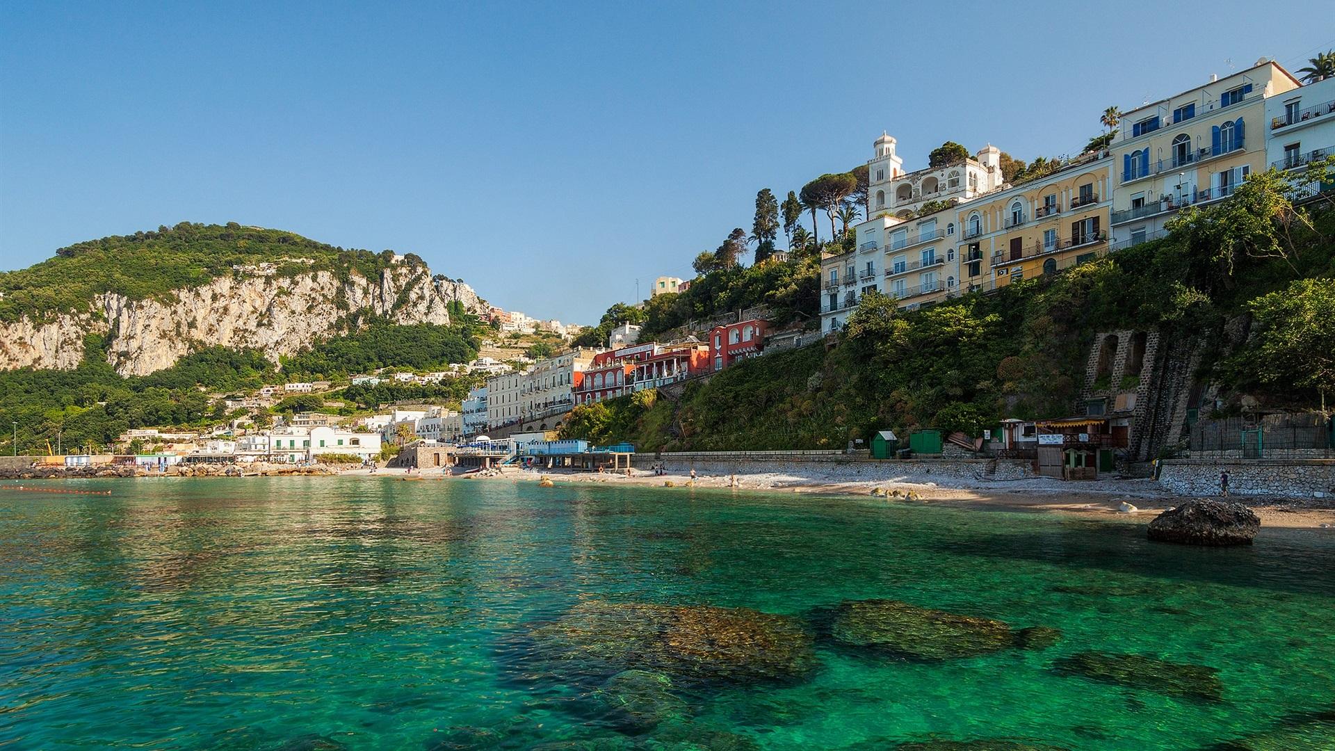 阿纳卡普里,卡普里岛,意大利,城市,海岛,海岸,海,岩石,房屋 壁纸图片