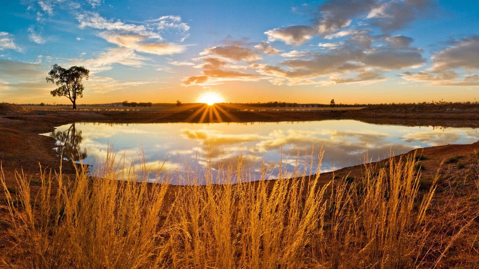 закат озеро осень трава  № 1020791  скачать