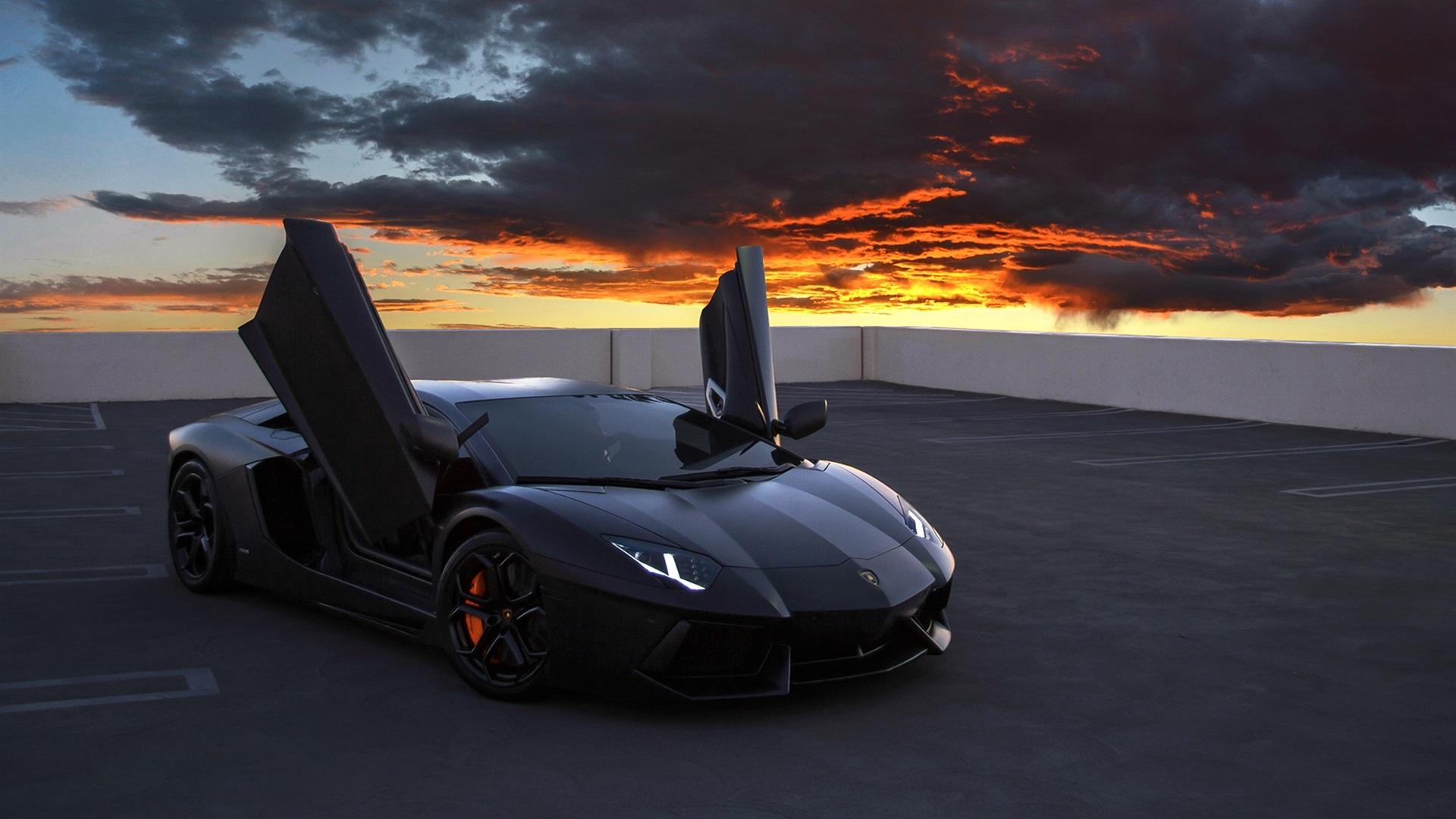 Lamborghini Fondos De Pantalla Hd >> superdeportivo Lamborghini Aventador, sobre las azoteas, cielo rojo, nubes Fondos de pantalla ...