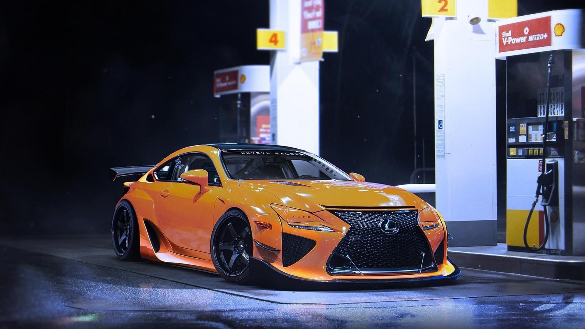 Fonds Décran Lexus Rcf Une Voiture Sport Jaune Nuit