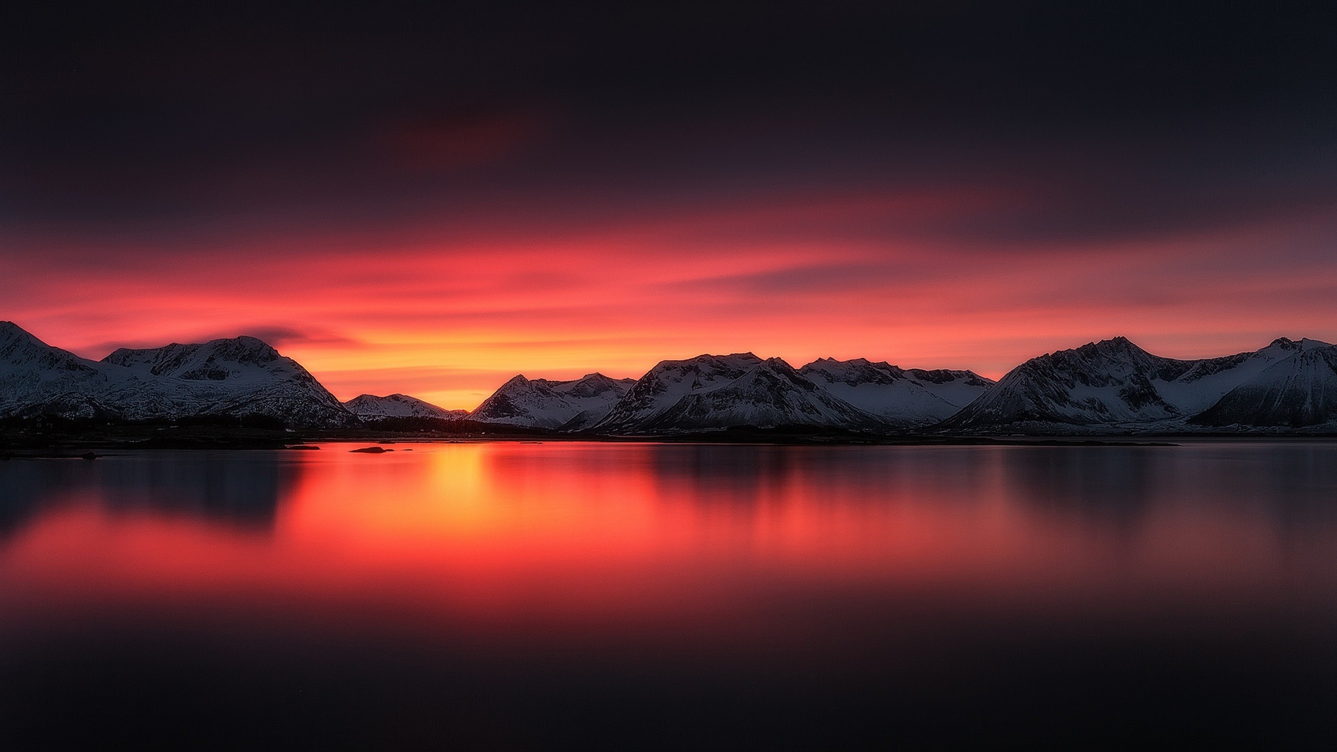 Wallpaper Beautiful Sunset Landscape Lake Red Sky Mountains Snow
