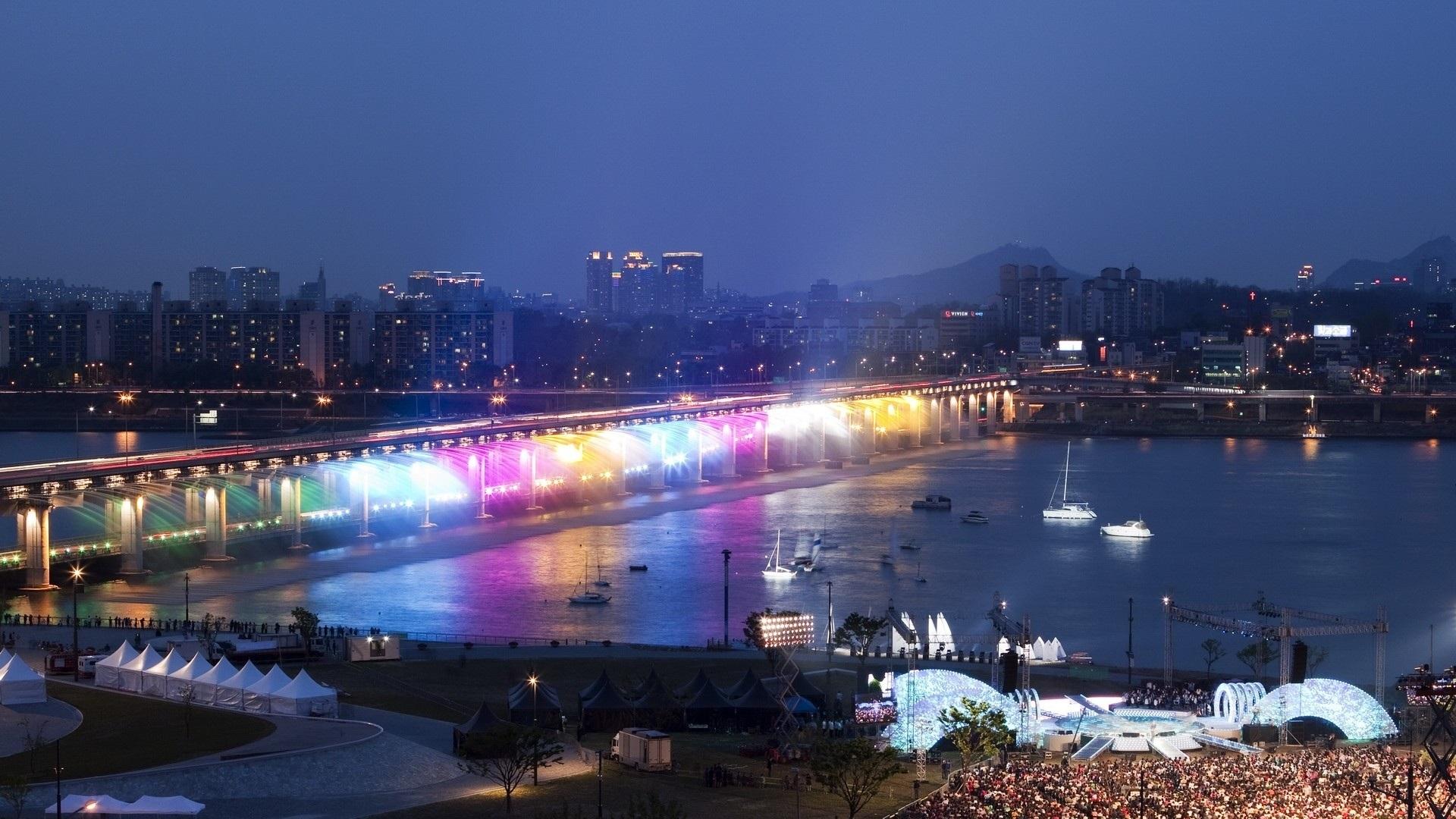 Wallpaper Han River Bridge Rainbow Illumination Night