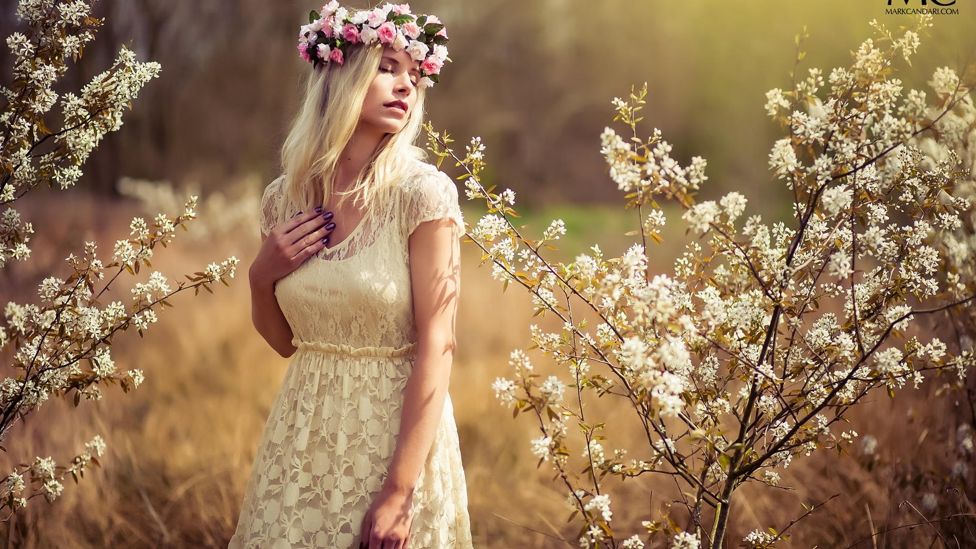 Summer, white dress girl, dreamy, wreath, flowers ...