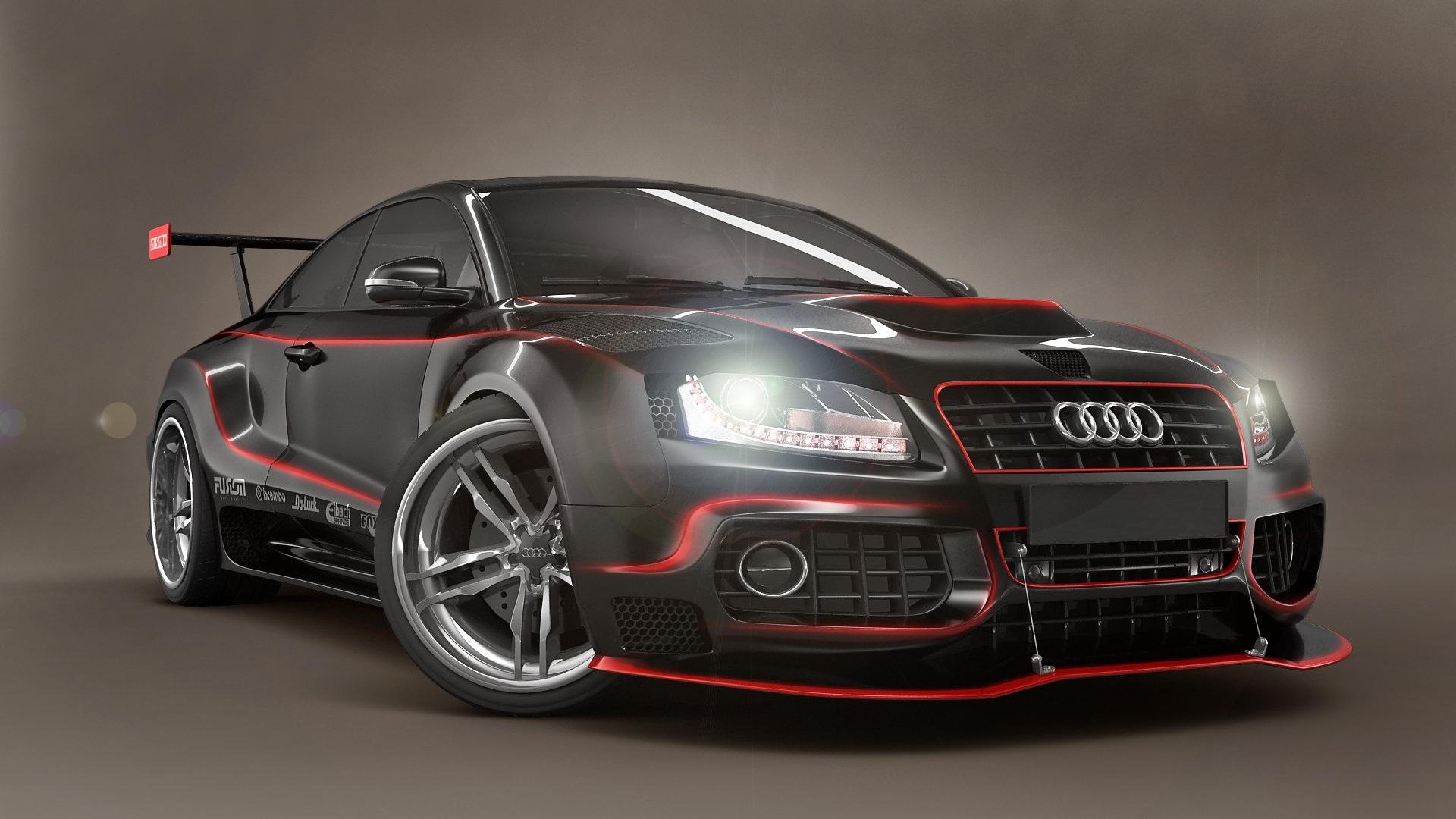 Wallpaper Audi Black Tuning Cars 1920x1080 Full Hd 2k