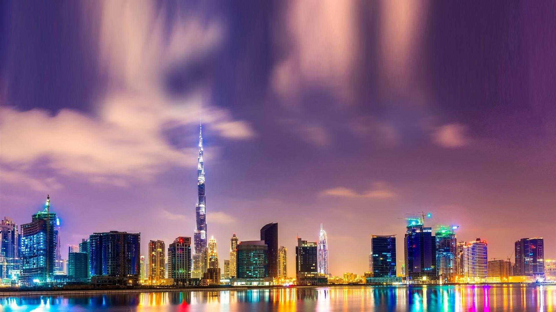Beautiful Night In Dubai Burj Khalifa High Rise Buildings