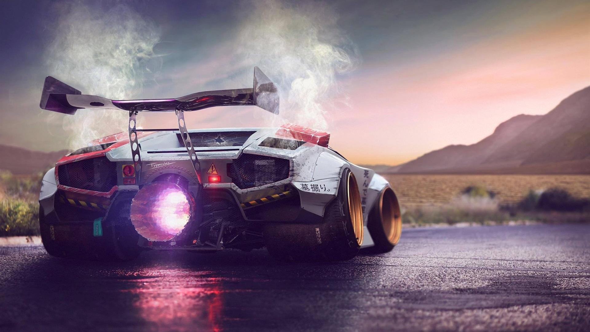 Wallpaper Lamborghini Concept Supercar Back View Super Engine
