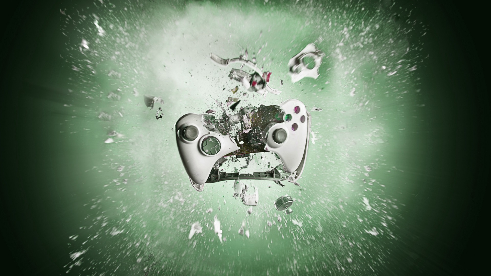 Wallpaper Playstation Gamepad Smashing Into Pieces Creative