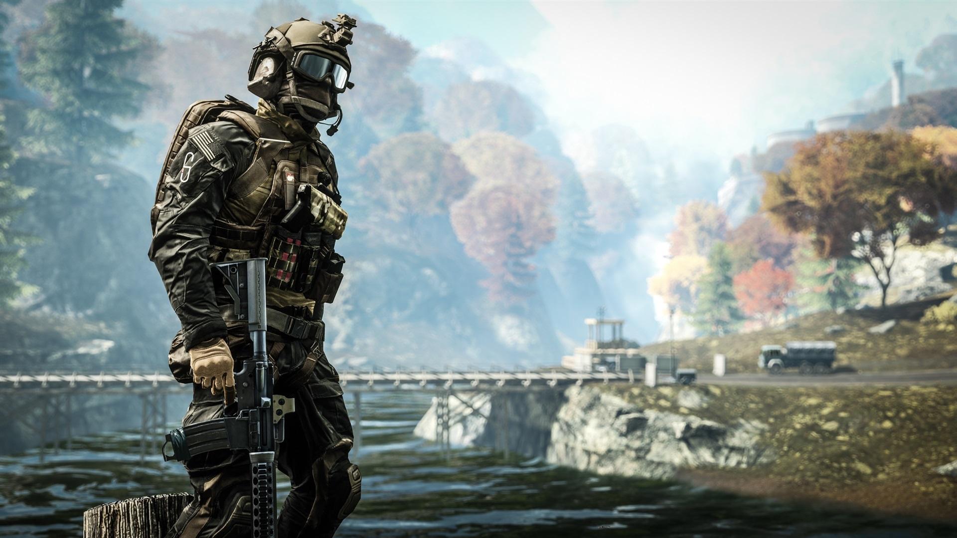 Battlefield4の川と兵士