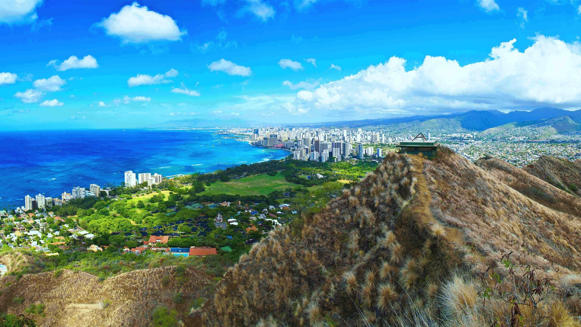 Beautiful Diamond Head City Coast Hawaii Usa Wallpaper
