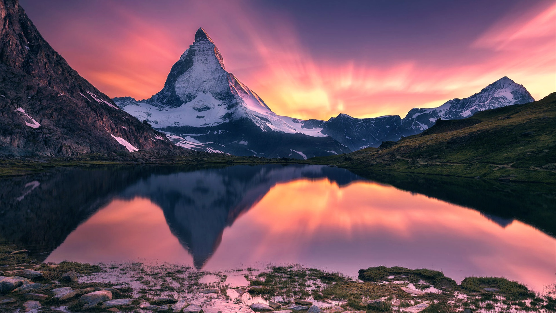 download wallpaper 1920x1080 matterhorn beautiful sunset