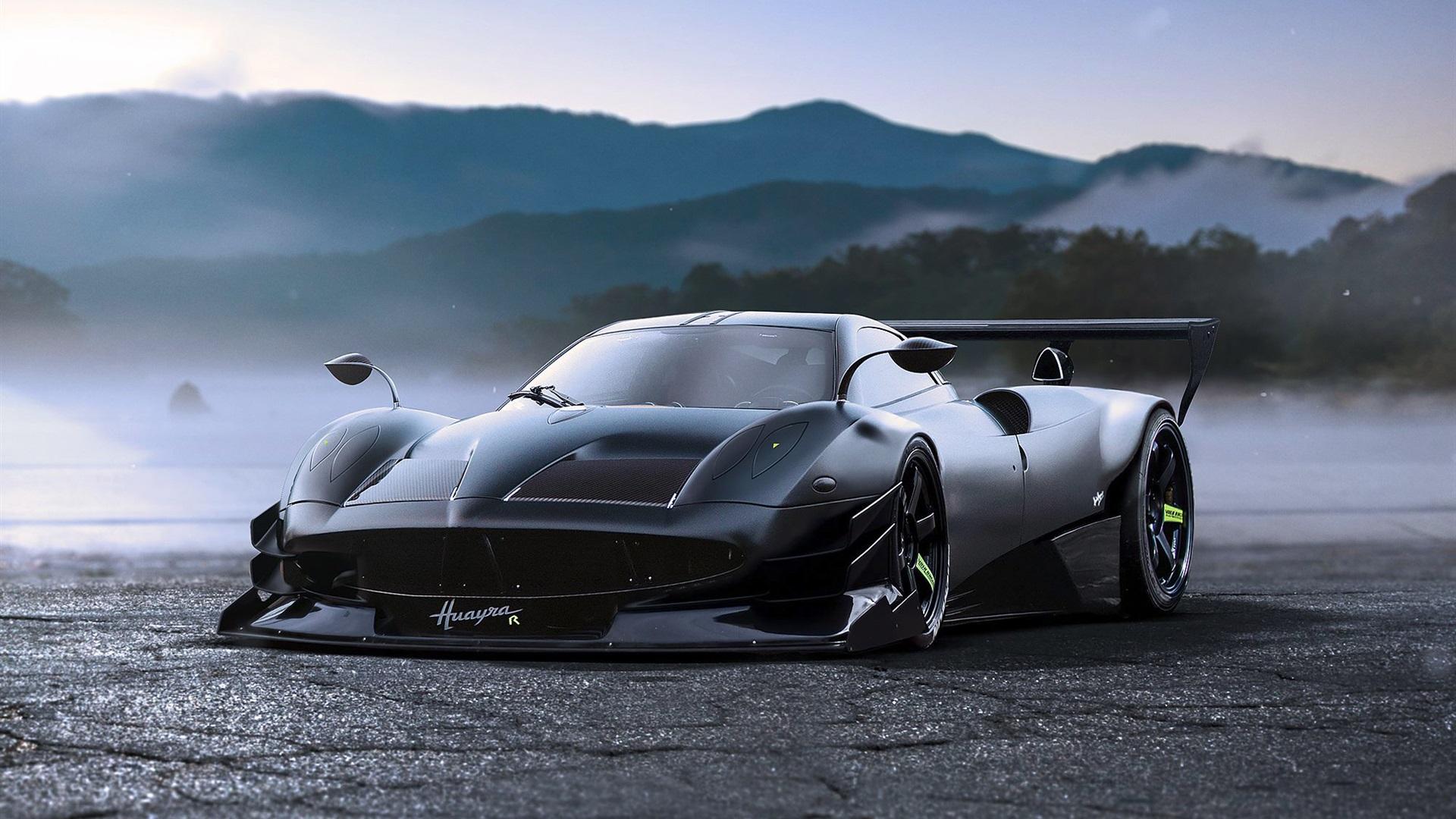 Pagani Huayra concept tuning black supercar Wallpaper ...
