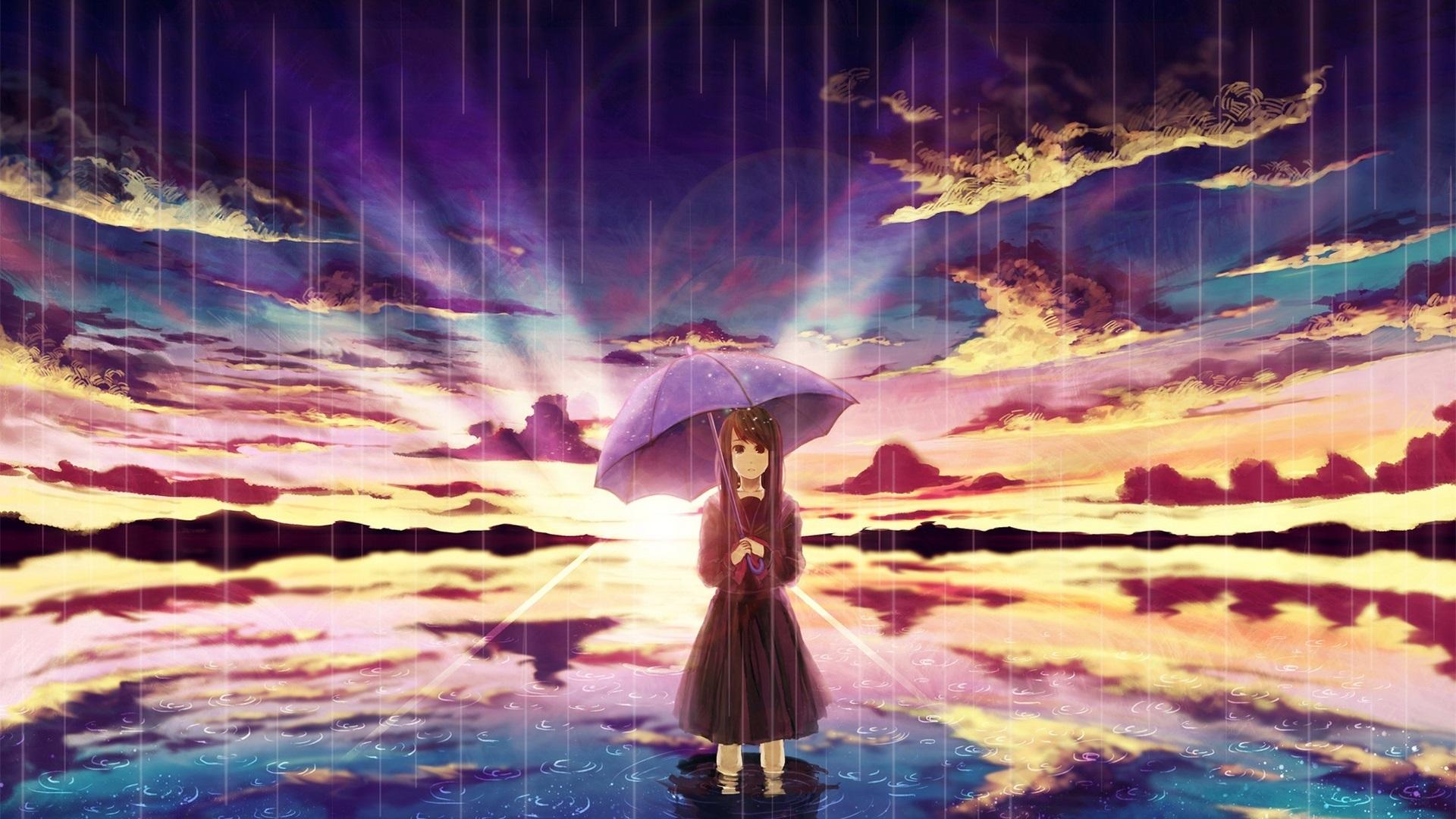 Anime Girl In Rain Umbrella Water Clouds Sunset 640x1136 Iphone