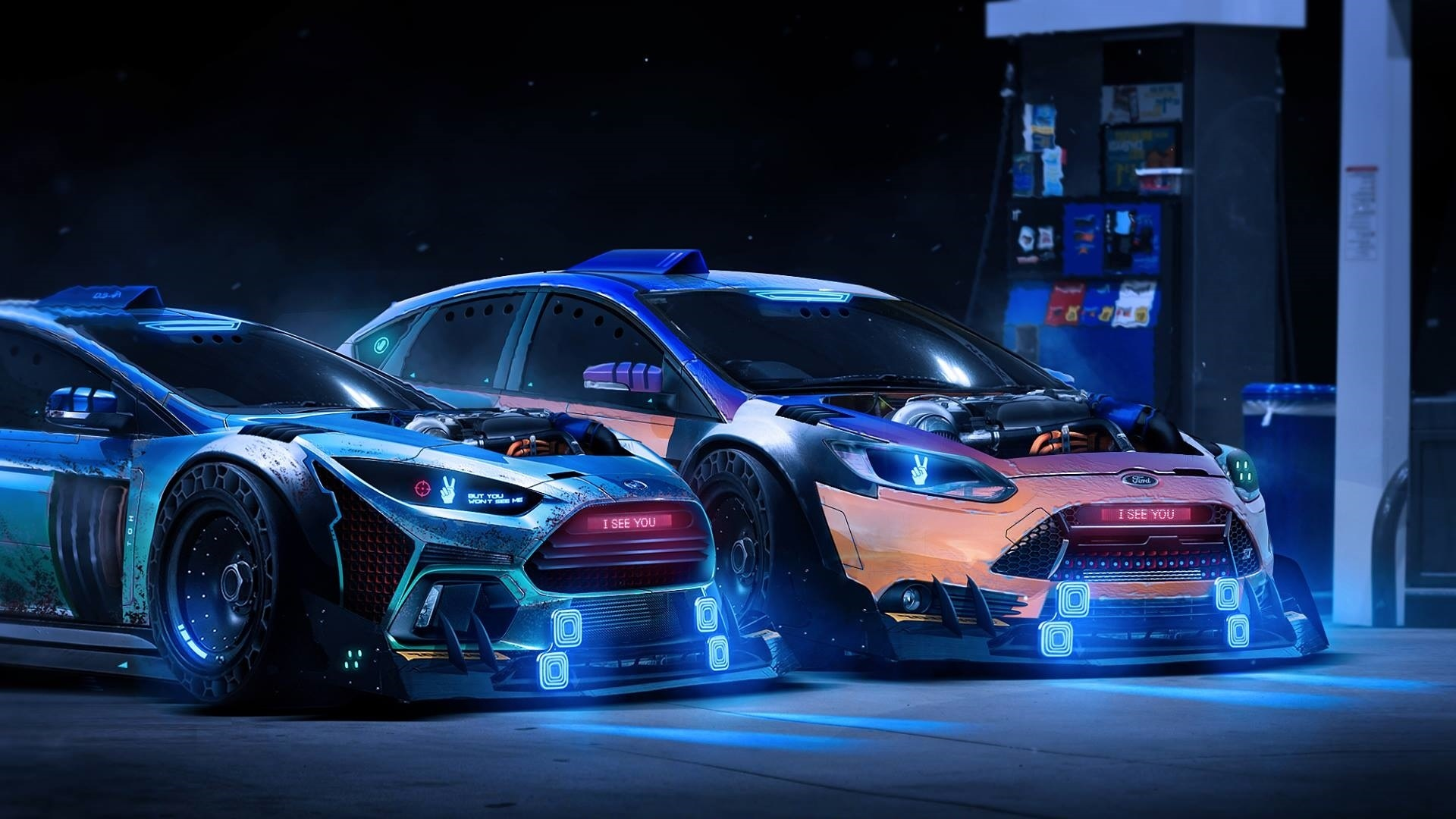 Wallpaper Ford Focus Rs 2015 Neon Supercars 1920x1080 Full